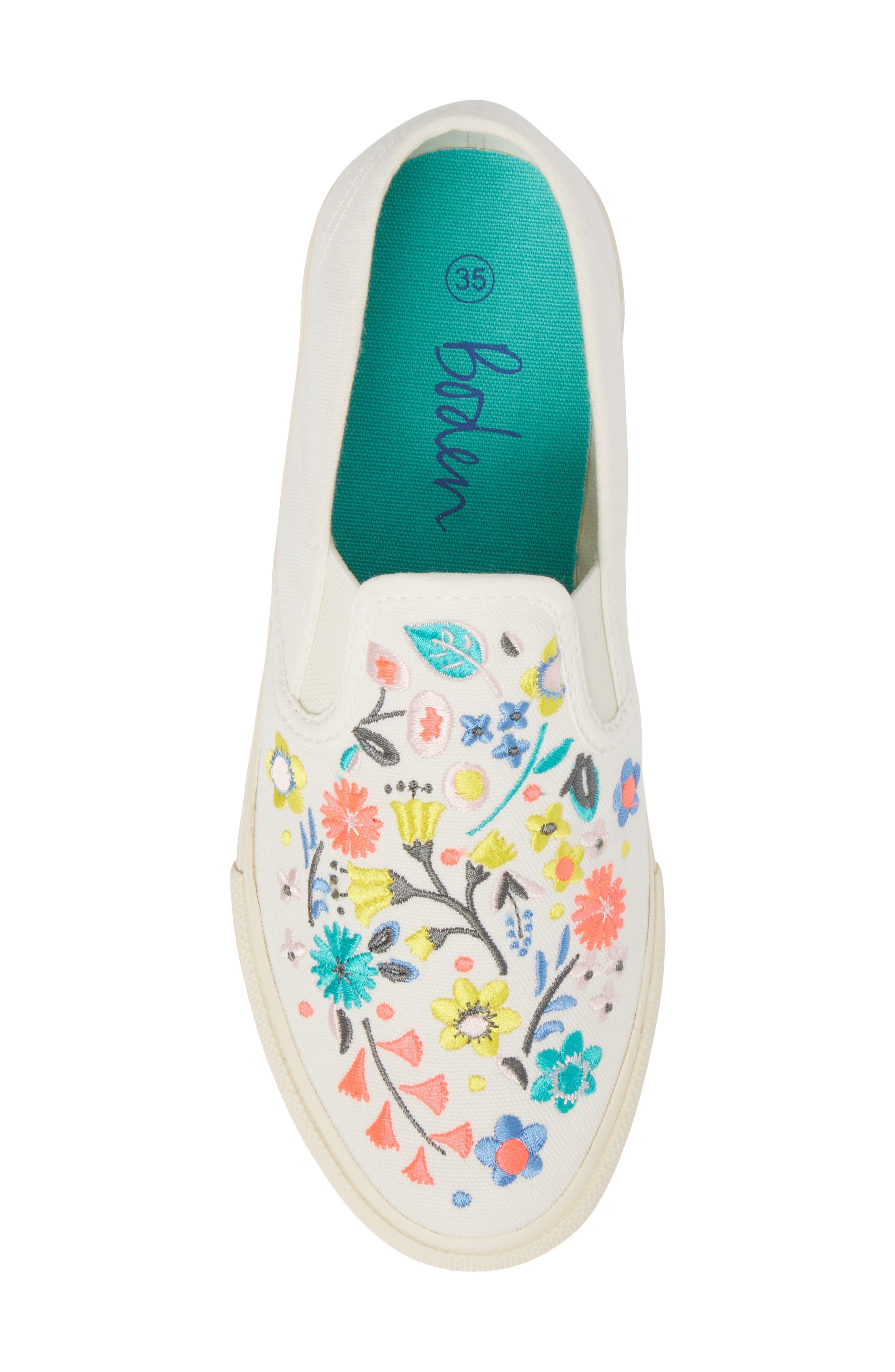 Boden Embroidered Slip-On Sneaker,                             Alternate thumbnail 5, color,                             Ecru