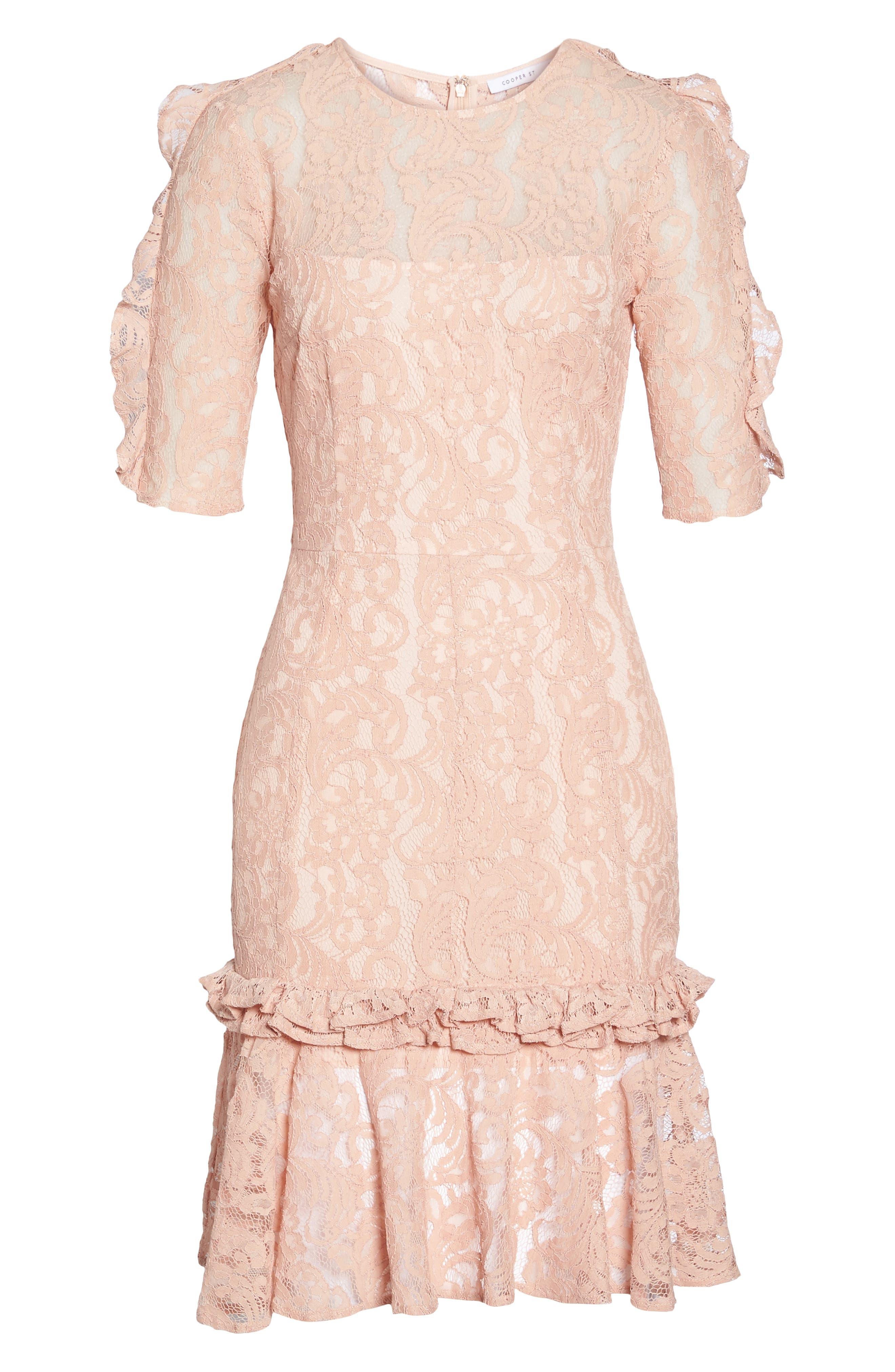 Hushed Dove Lace Dress,                             Alternate thumbnail 6, color,                             Rose Cloud