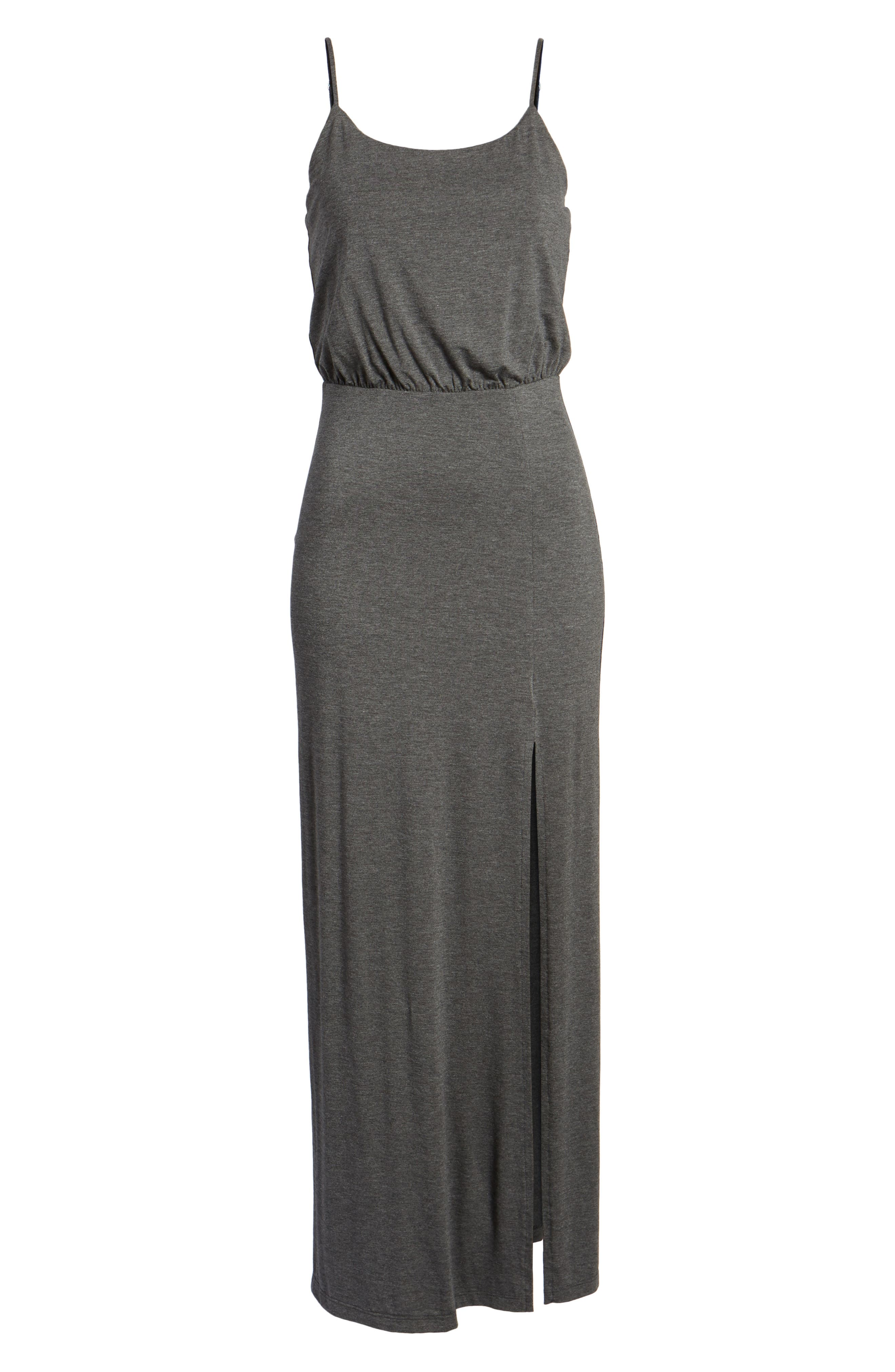 Knit Maxi Dress,                             Alternate thumbnail 6, color,                             Heather Charcoal