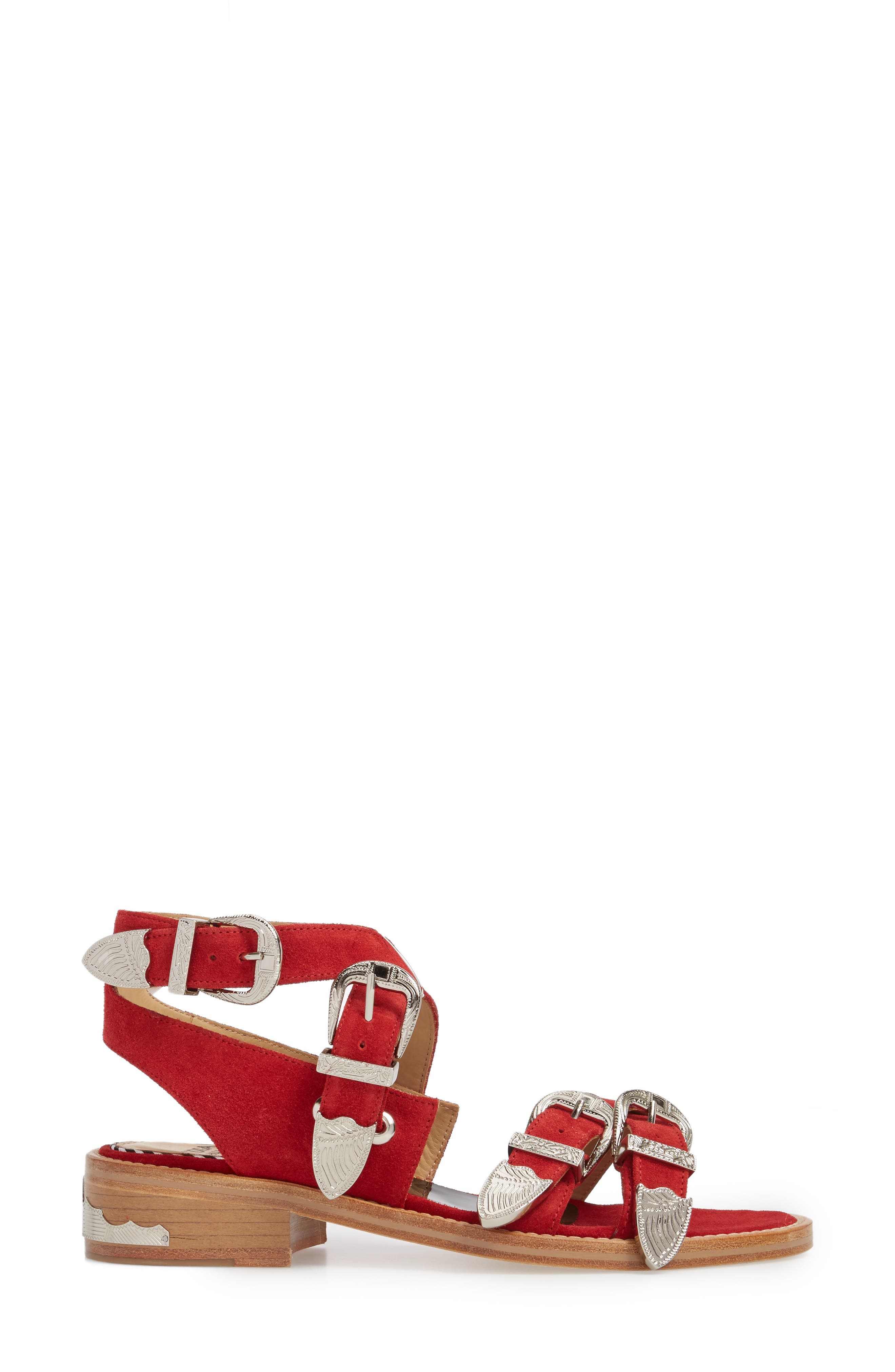 Western Suede Strappy Sandal,                             Alternate thumbnail 3, color,                             Red Suede