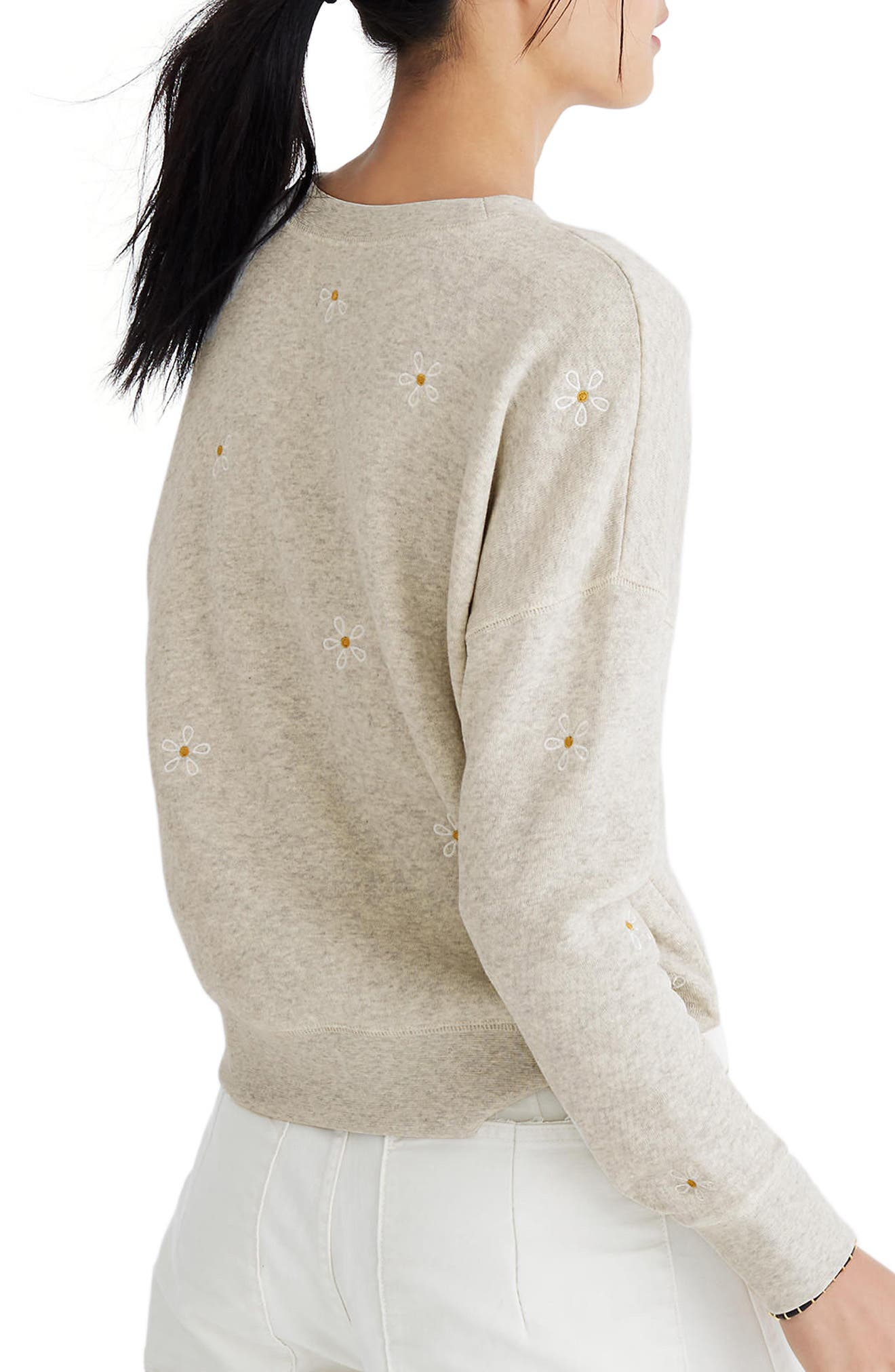 Daisy Embroidered Sweatshirt,                             Alternate thumbnail 2, color,                             Hthr Pearl