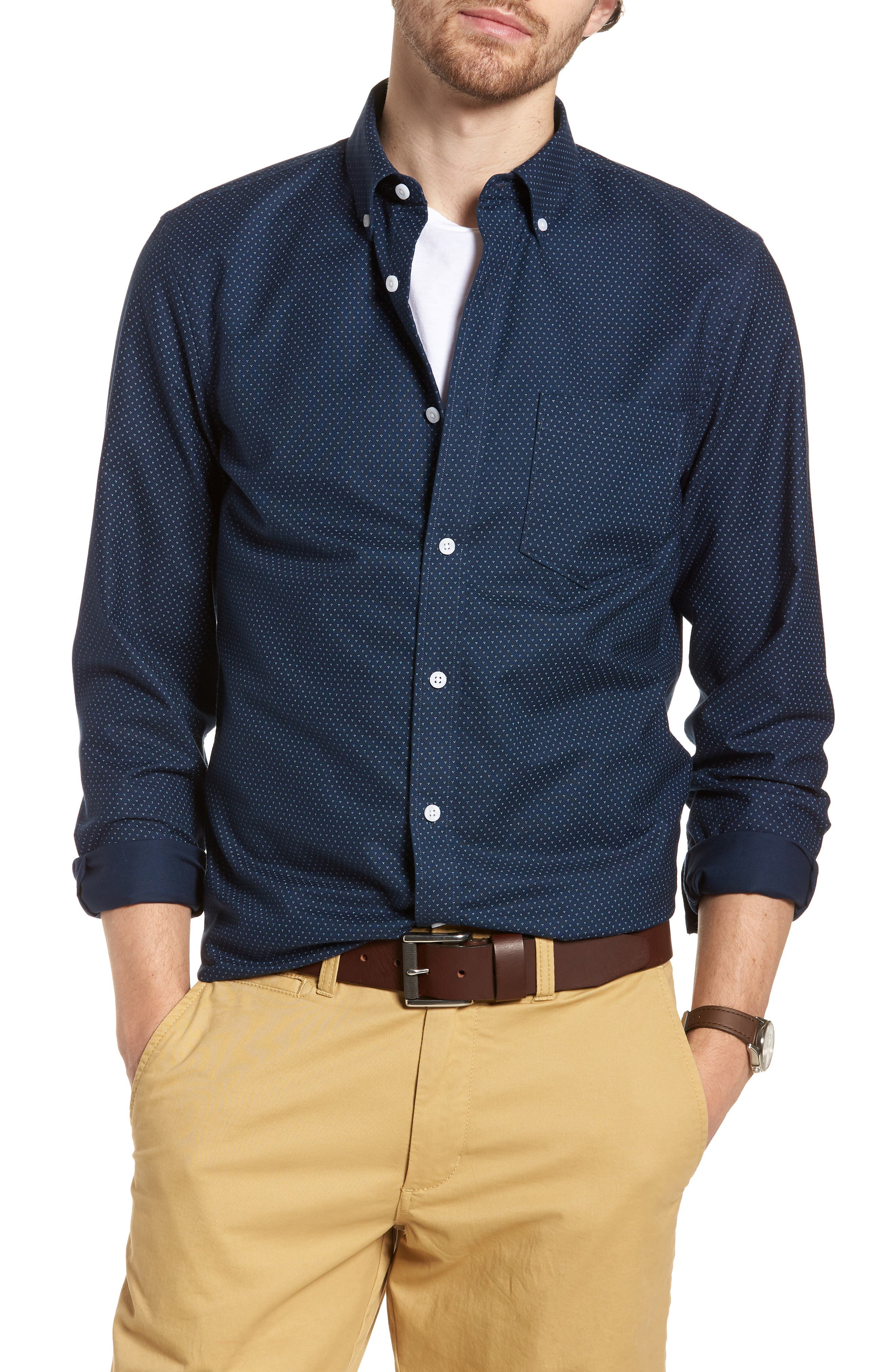 Trim Fit Print Washed Oxford Sport Shirt,                             Main thumbnail 1, color,                             Navy Night Triple Dot