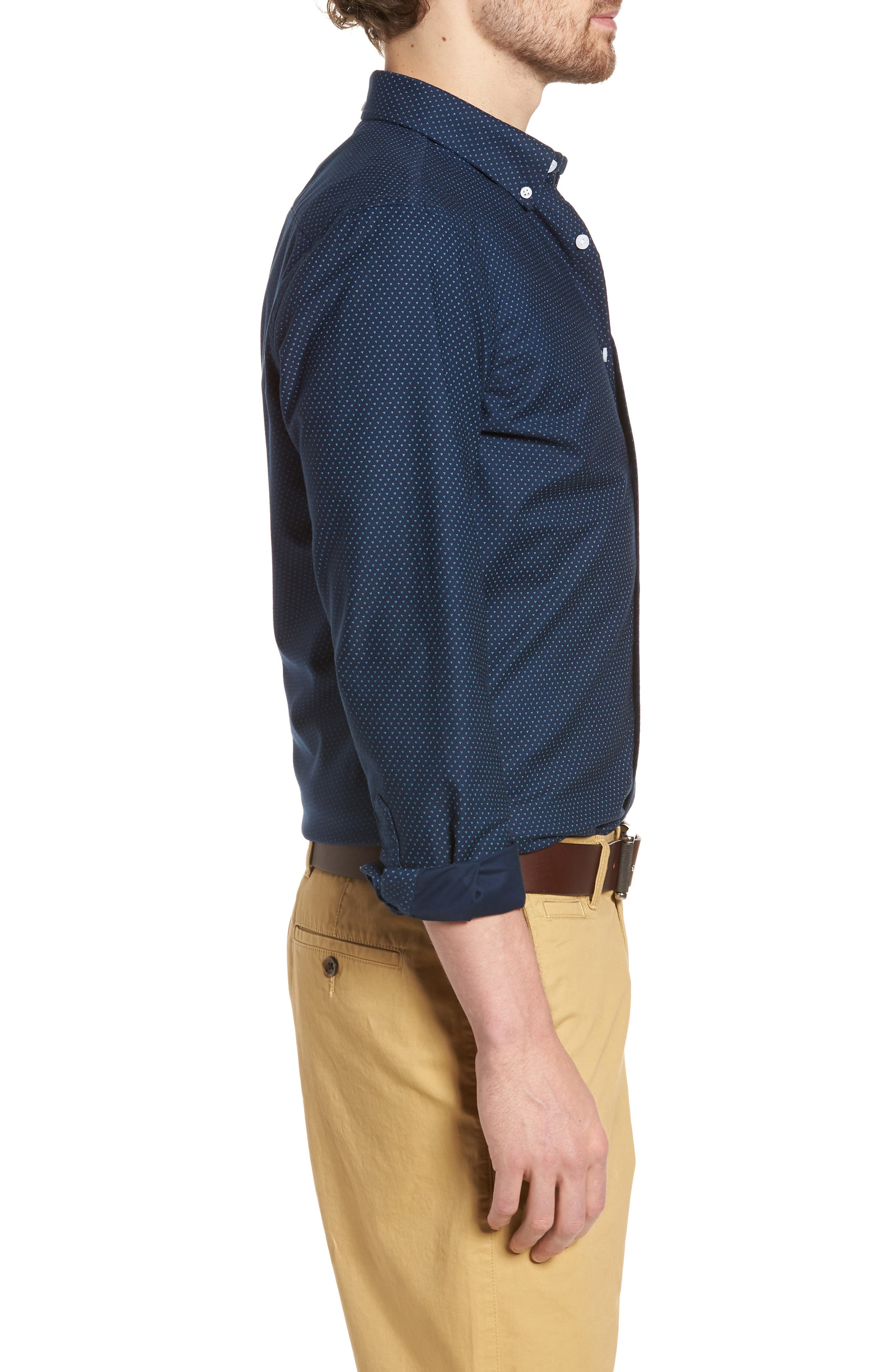 Trim Fit Print Washed Oxford Sport Shirt,                             Alternate thumbnail 3, color,                             Navy Night Triple Dot