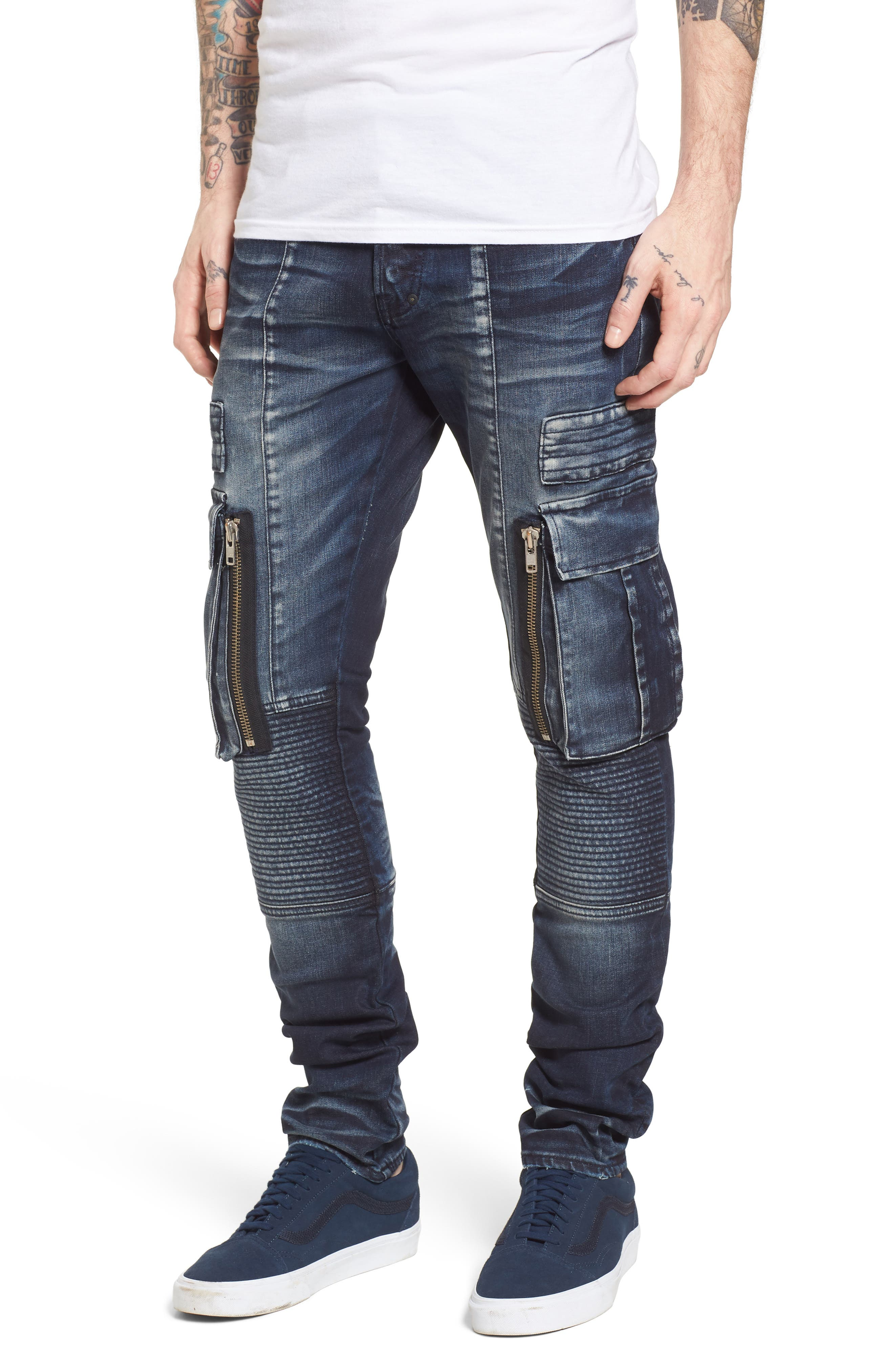 Windsor Slim Fit Moto Cargo Jeans,                         Main,                         color, Altar