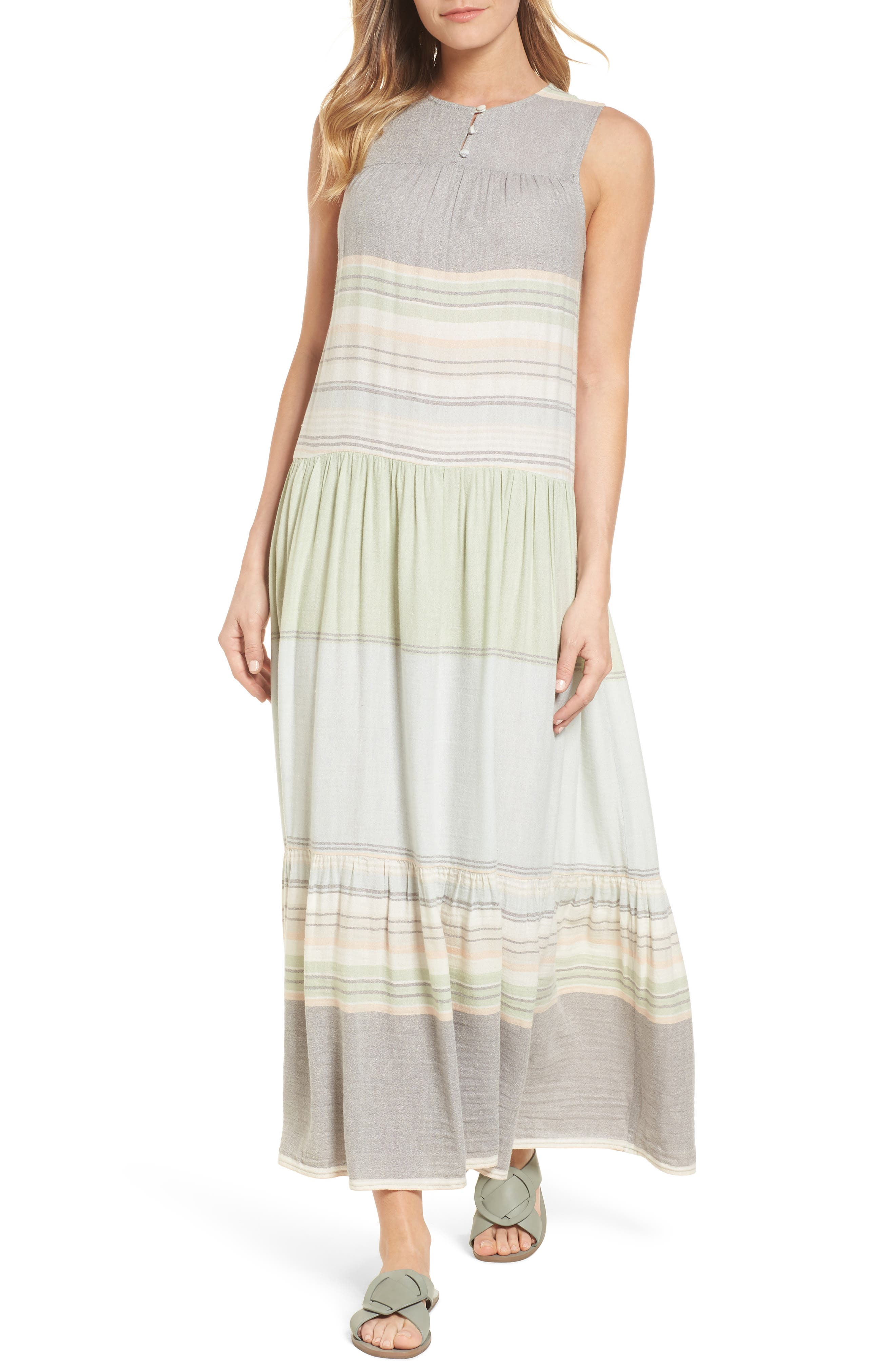 Multi Stripe Woven Maxi Dress,                             Main thumbnail 1, color,                             Green- Grey Vallis Stripe