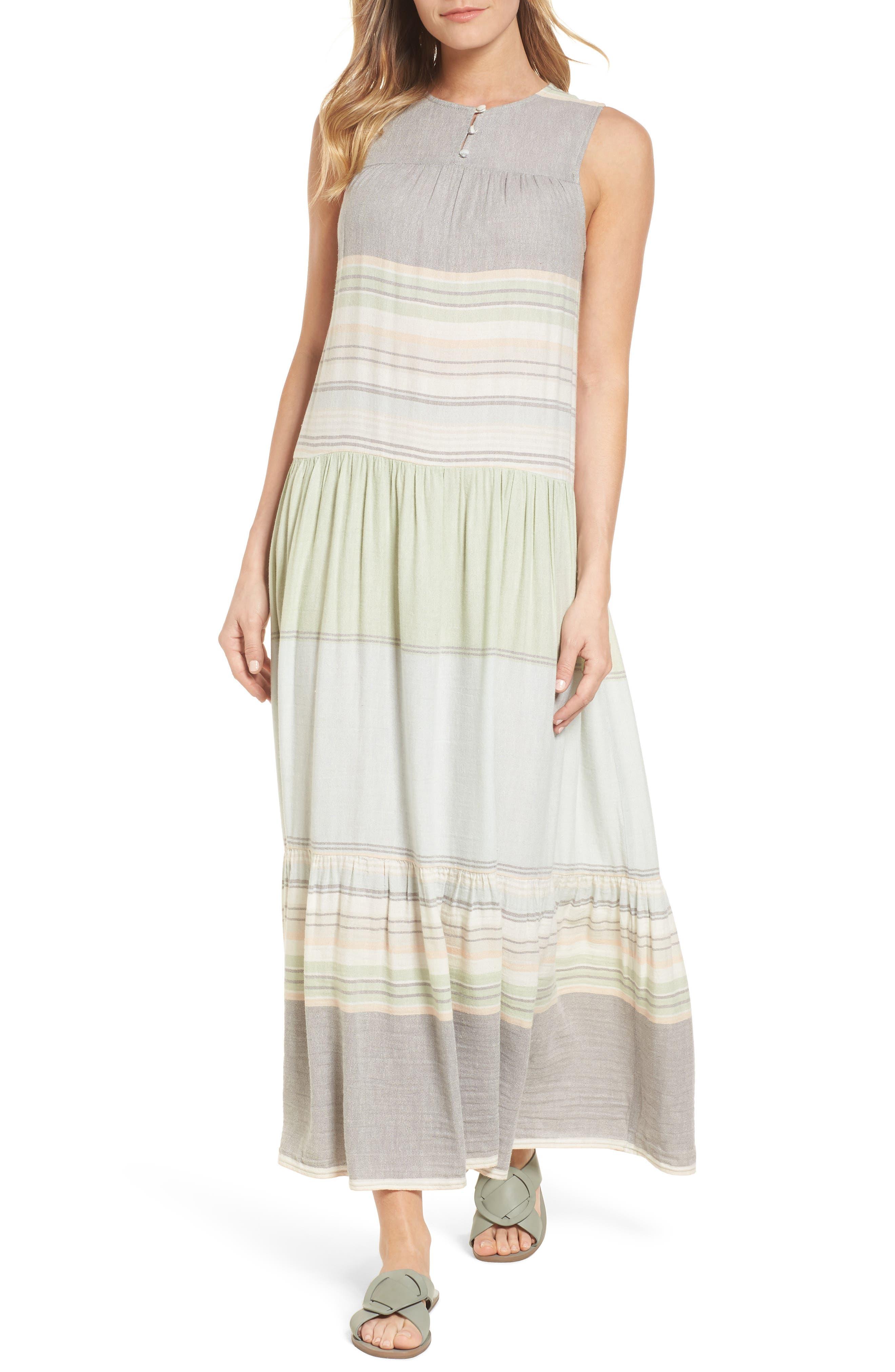Multi Stripe Woven Maxi Dress,                         Main,                         color, Green- Grey Vallis Stripe
