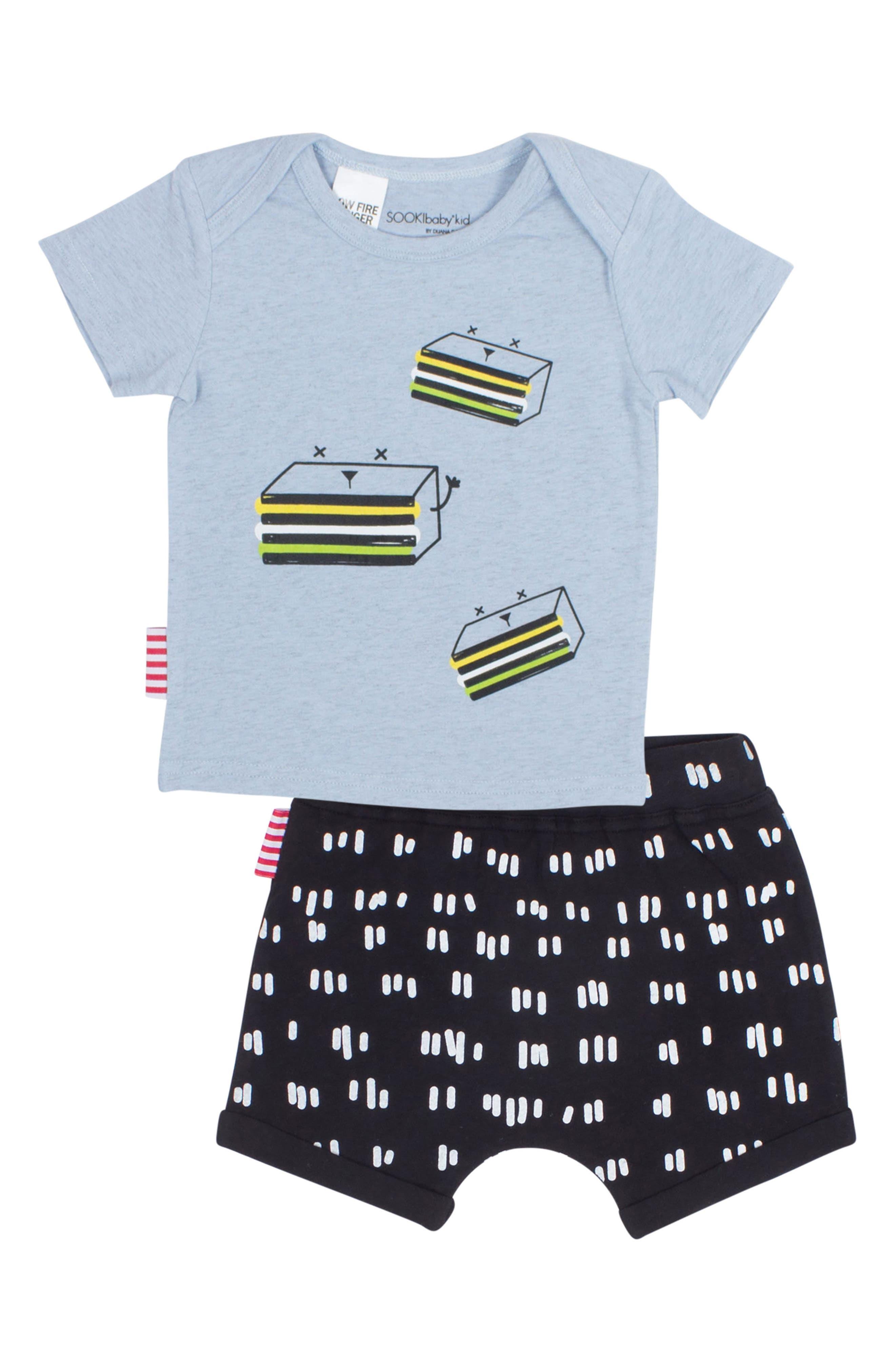 Licorice T-Shirt & Shorts Set,                             Main thumbnail 1, color,                             Blue/ Black
