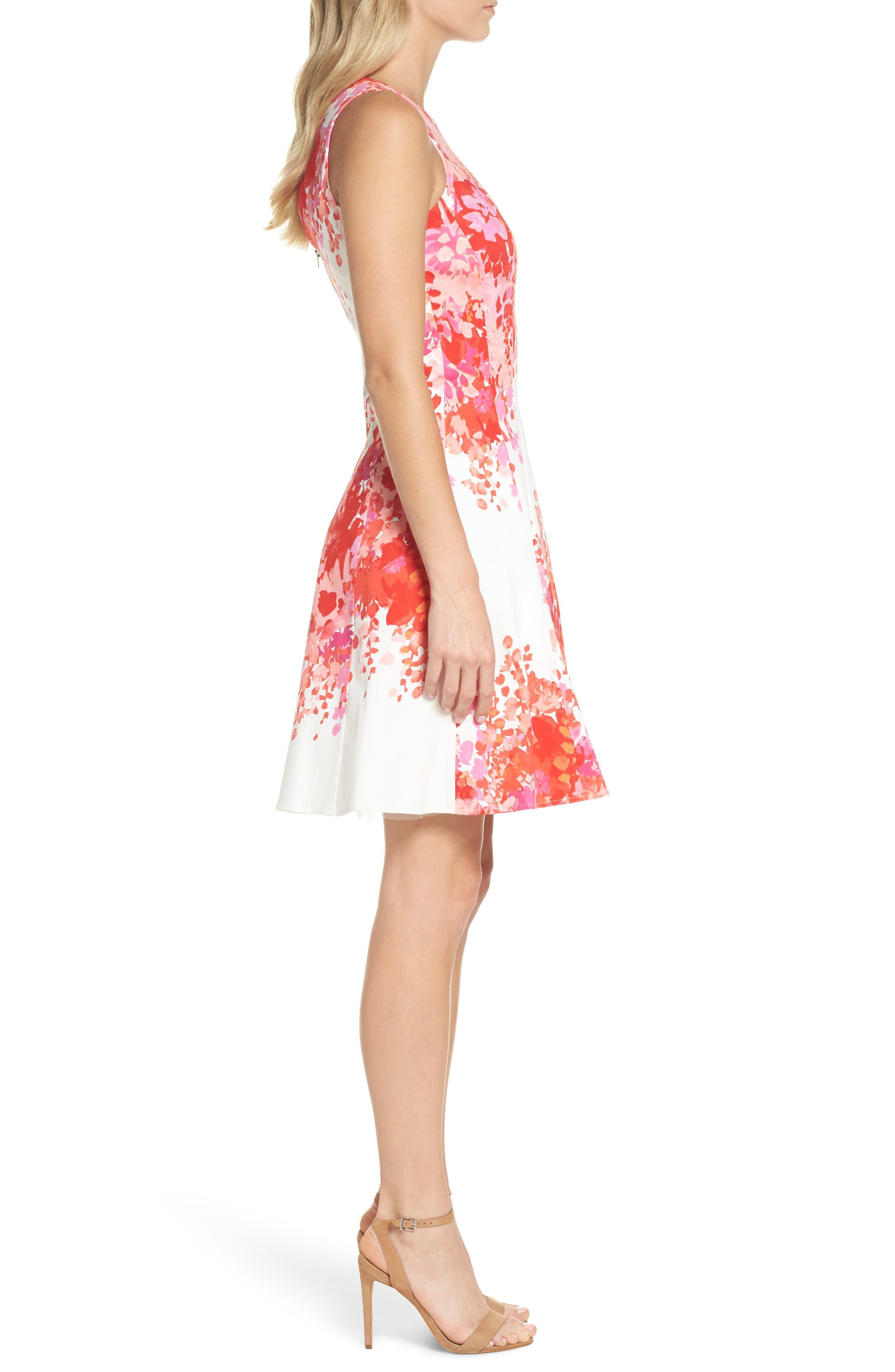 Fit & Flare Dress,                             Alternate thumbnail 3, color,                             Soft White/ Orange