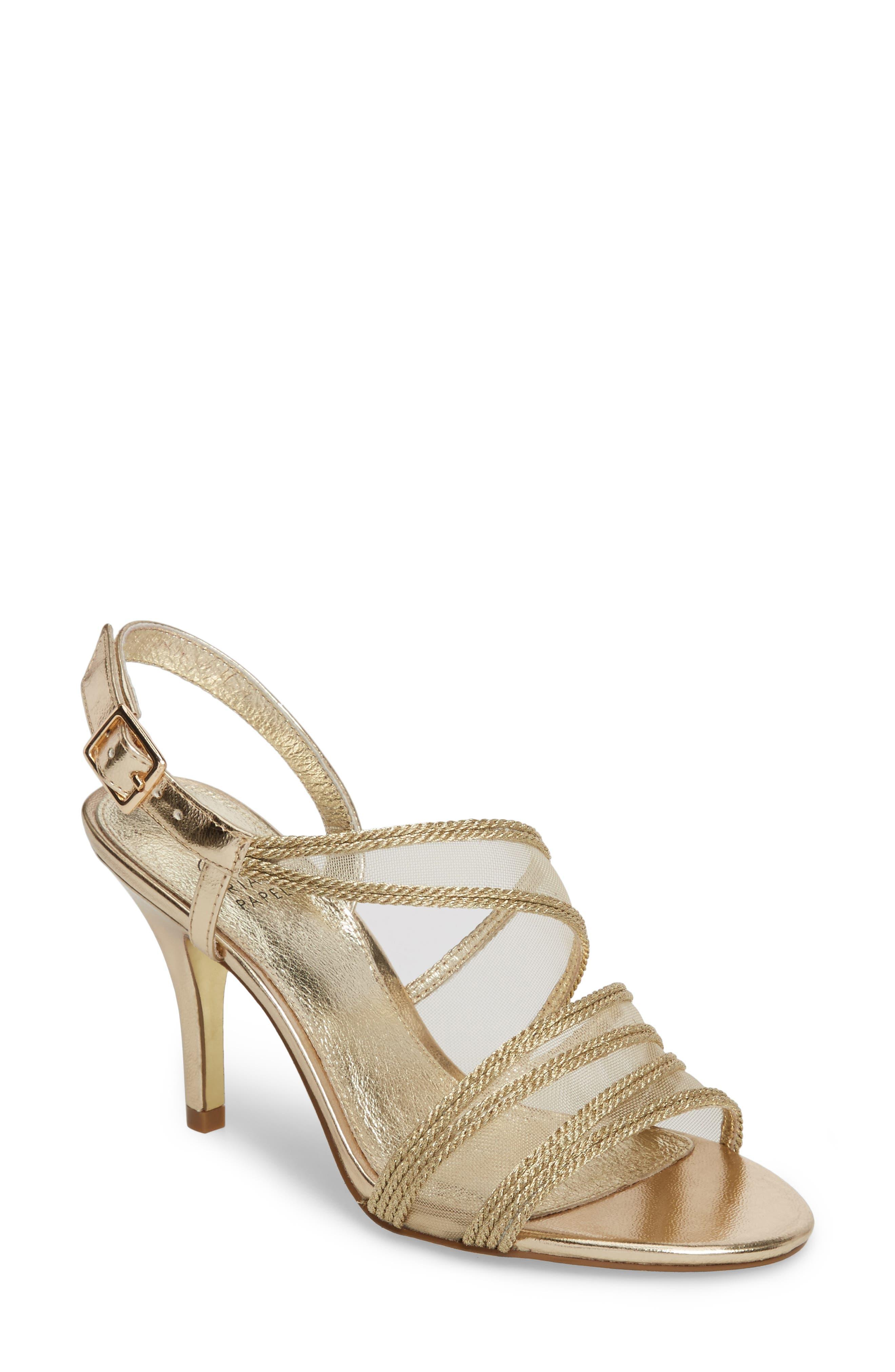 Adelphi Asymmetrical Mesh Sandal,                         Main,                         color, Platinum Fabric