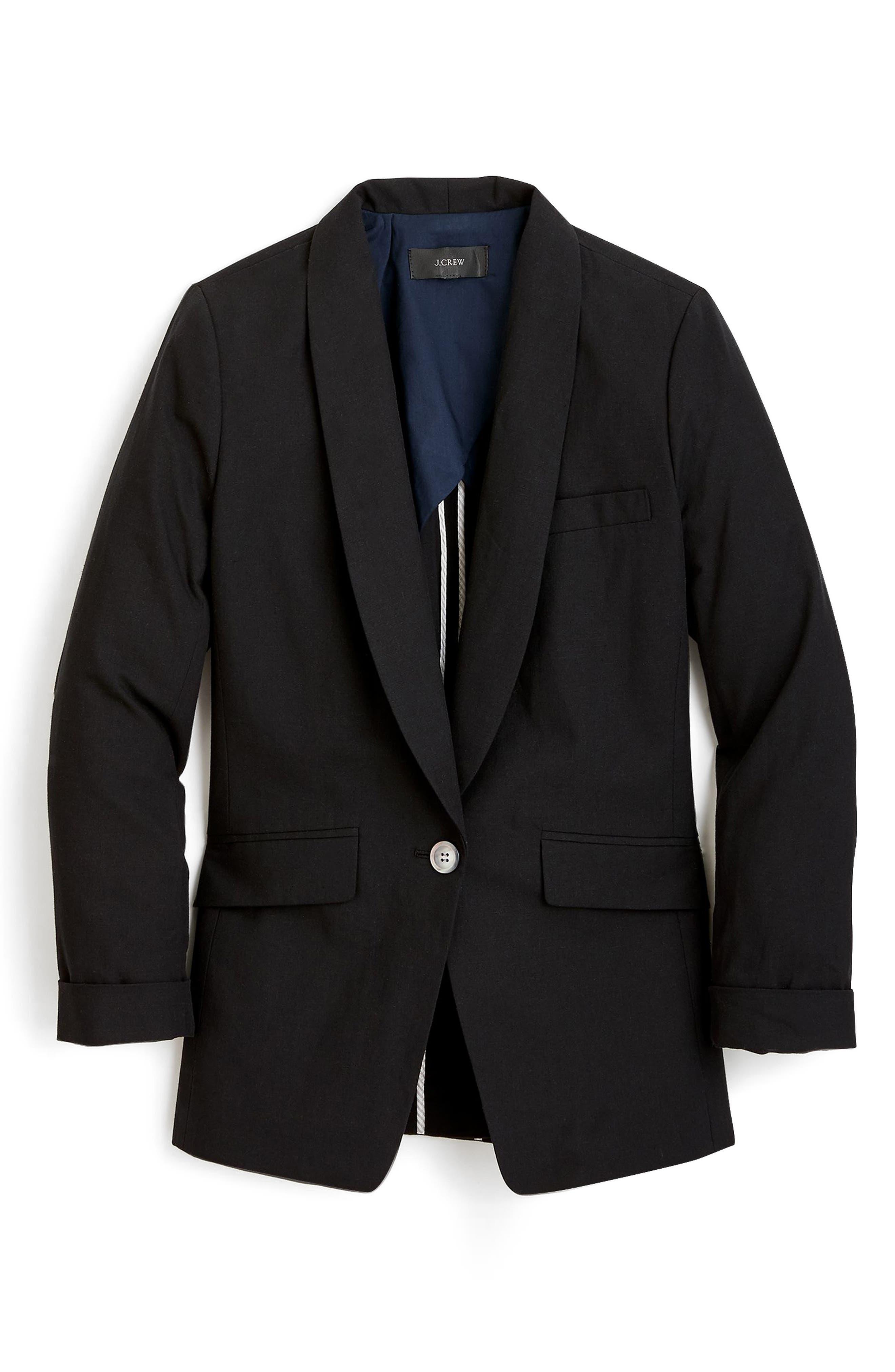 J.Crew Unstructured Shawl Collar Cotton Linen Blazer (Regular & Petite)
