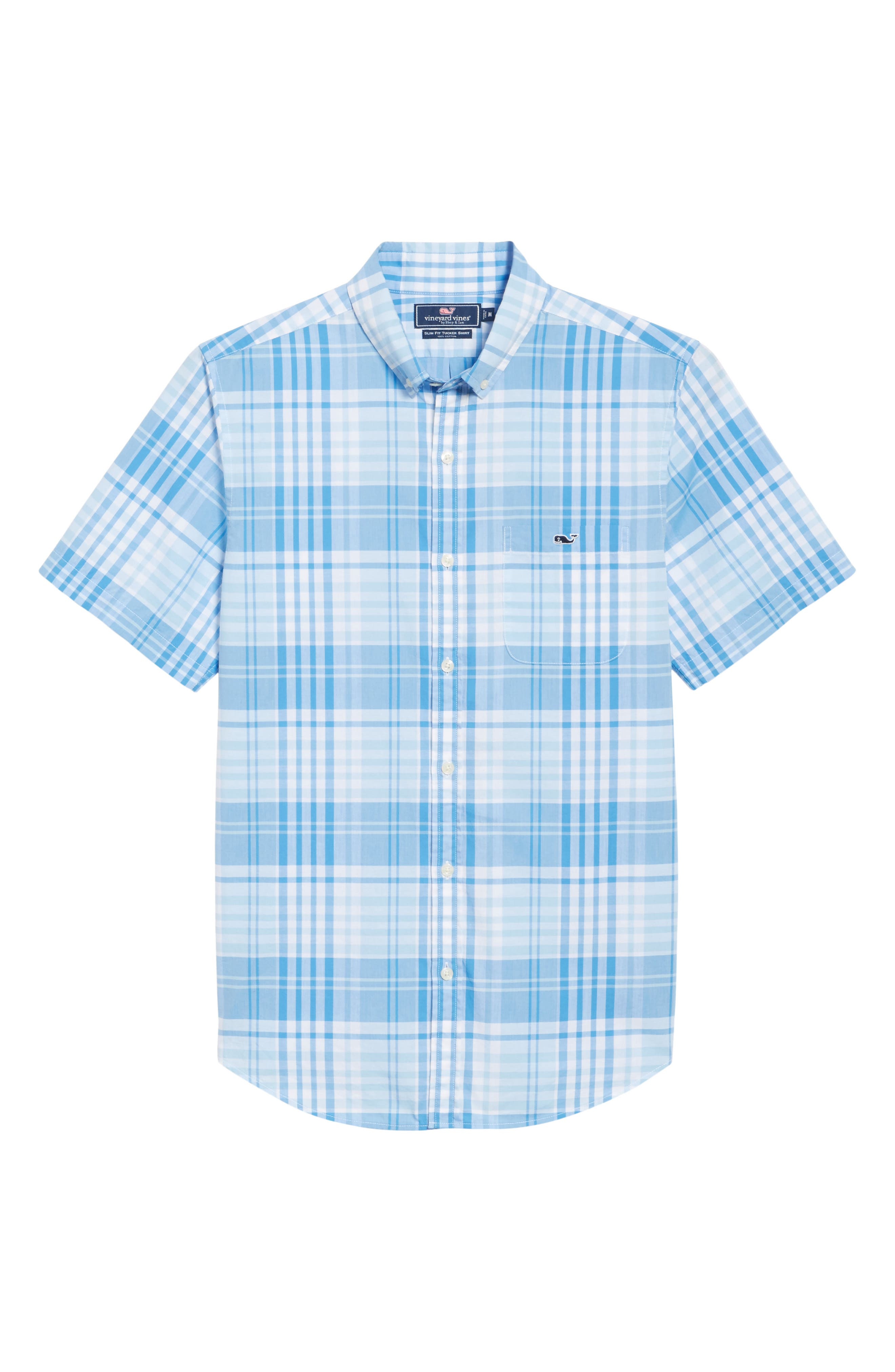 Crawfish Plaid Slim Fit Sport Shirt,                             Alternate thumbnail 6, color,                             Jake Blue