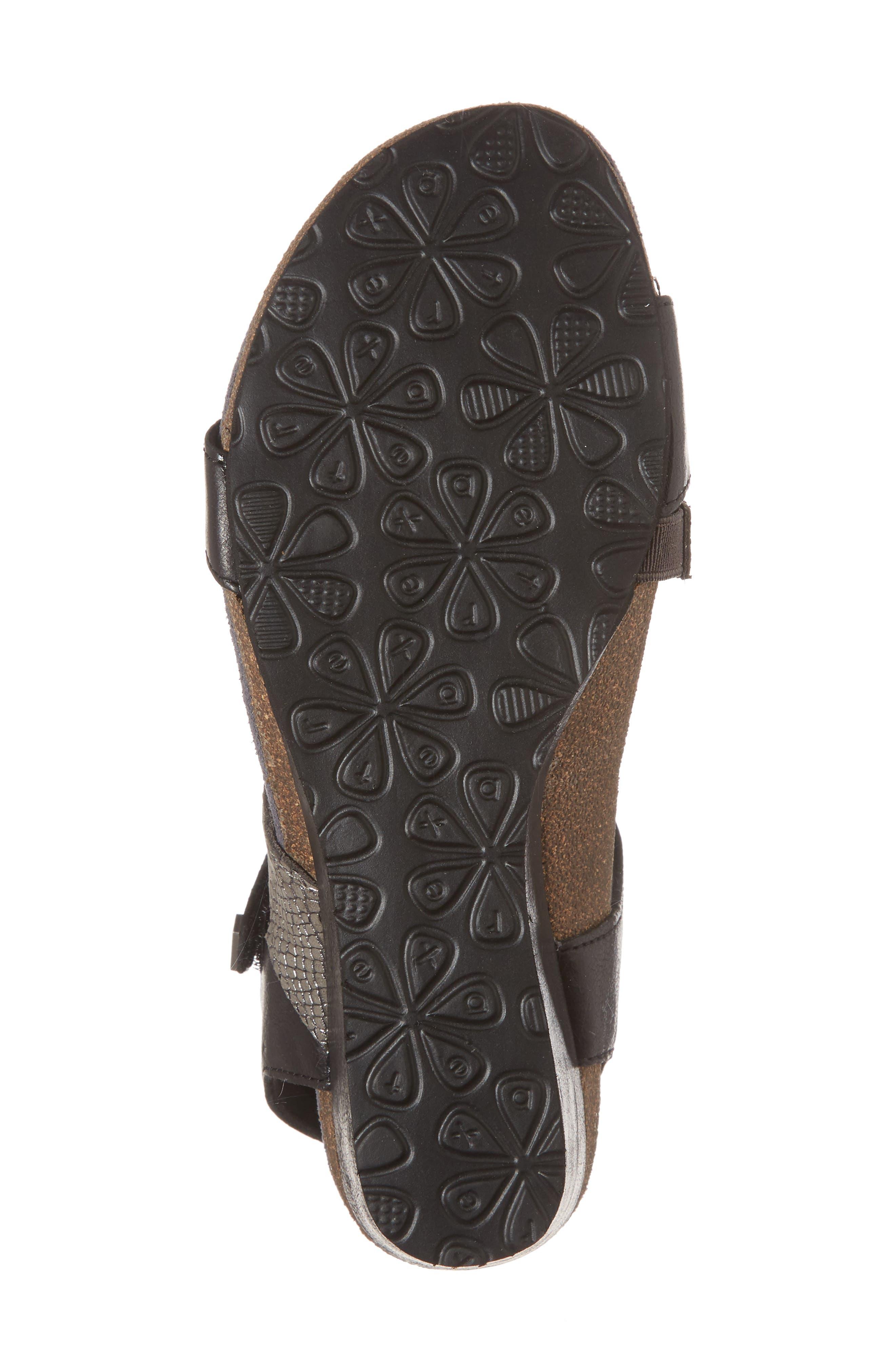 Brynn Asymmetrical Wedge Sandal,                             Alternate thumbnail 6, color,                             Black Leather