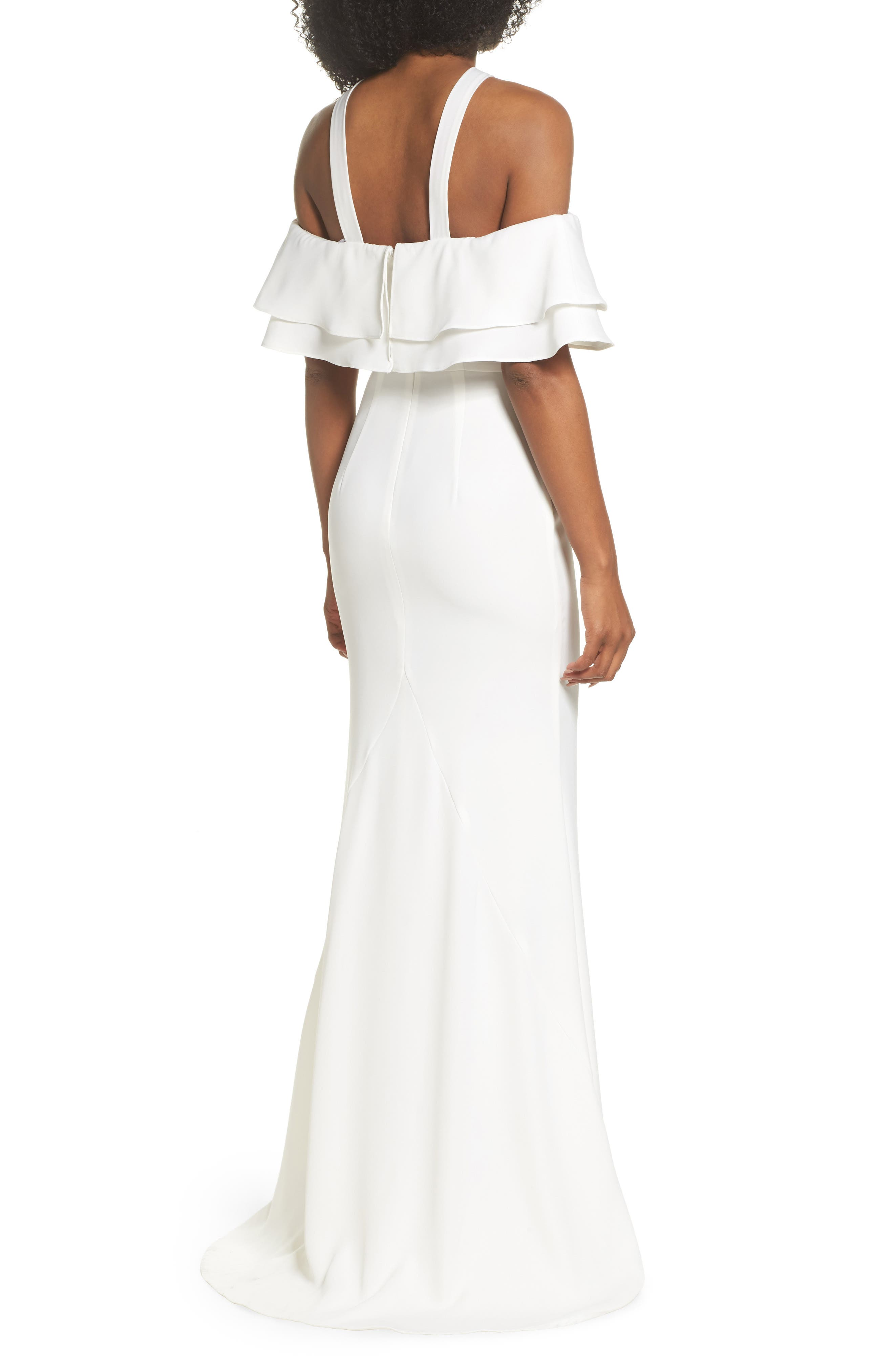 Dianne Ruffle Top Halter Gown,                             Alternate thumbnail 2, color,                             White