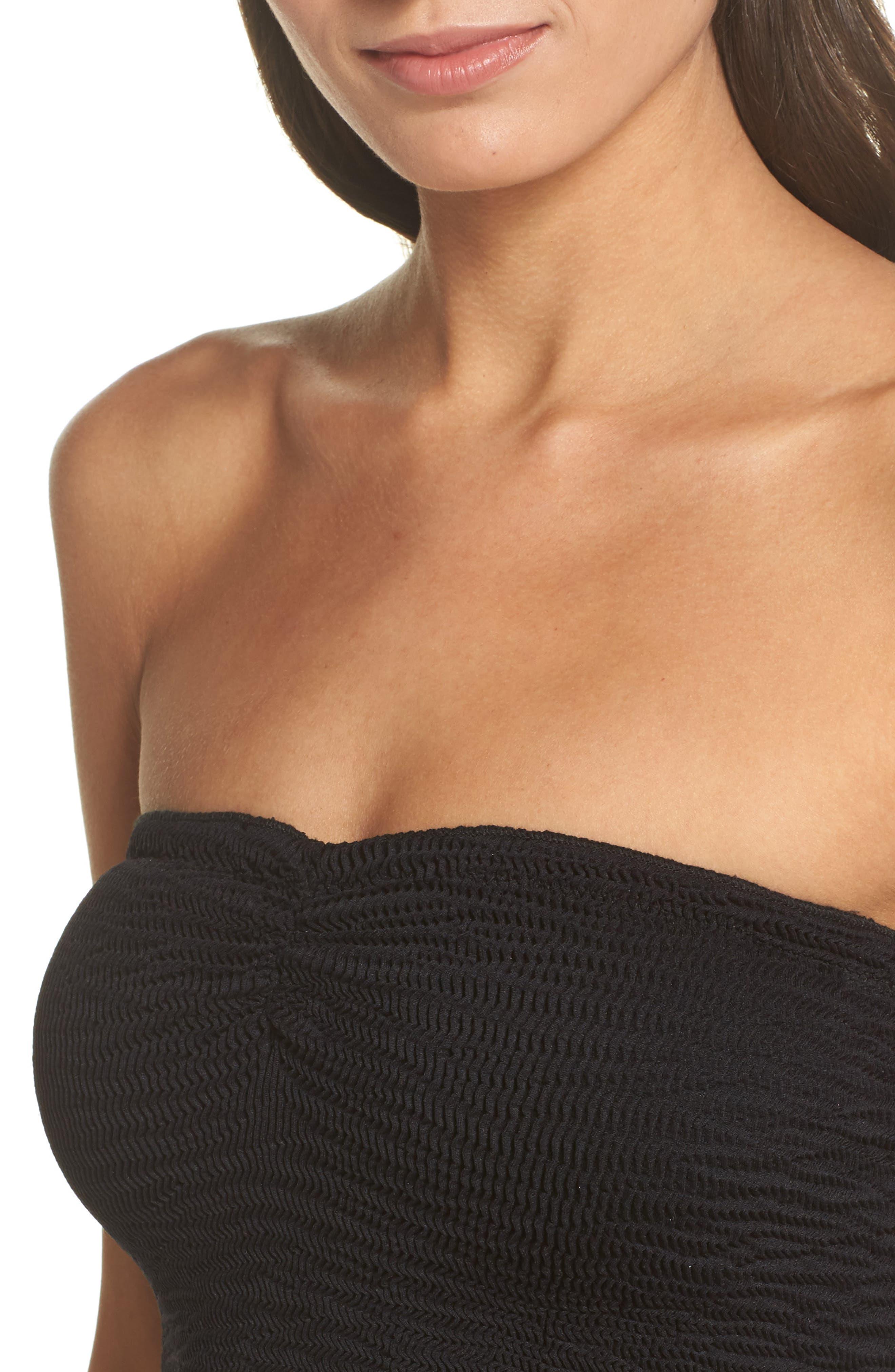 Tubular Bikini Top,                             Alternate thumbnail 4, color,                             Black