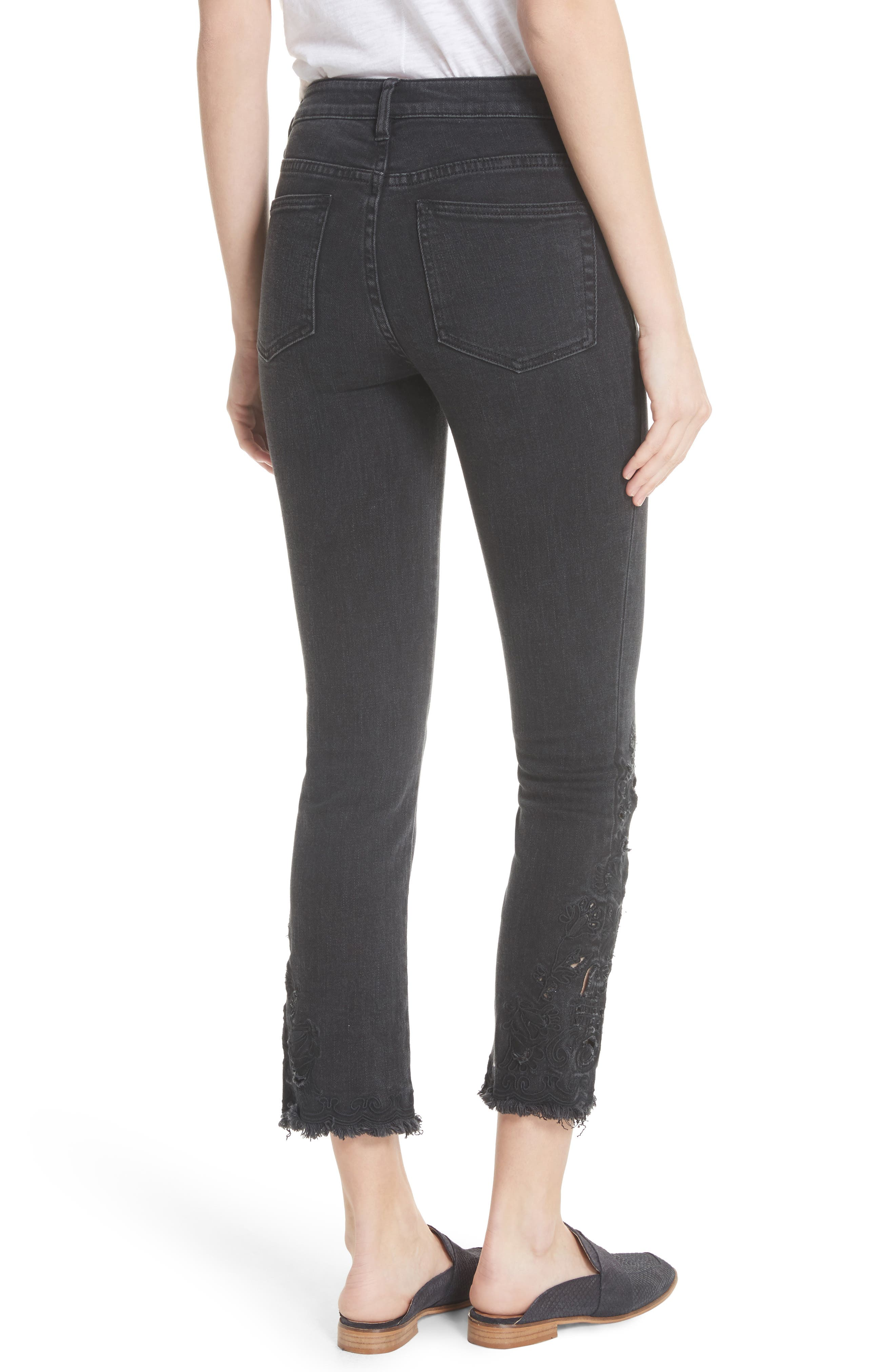 Cutwork Cigarette Jeans,                             Alternate thumbnail 2, color,                             Black