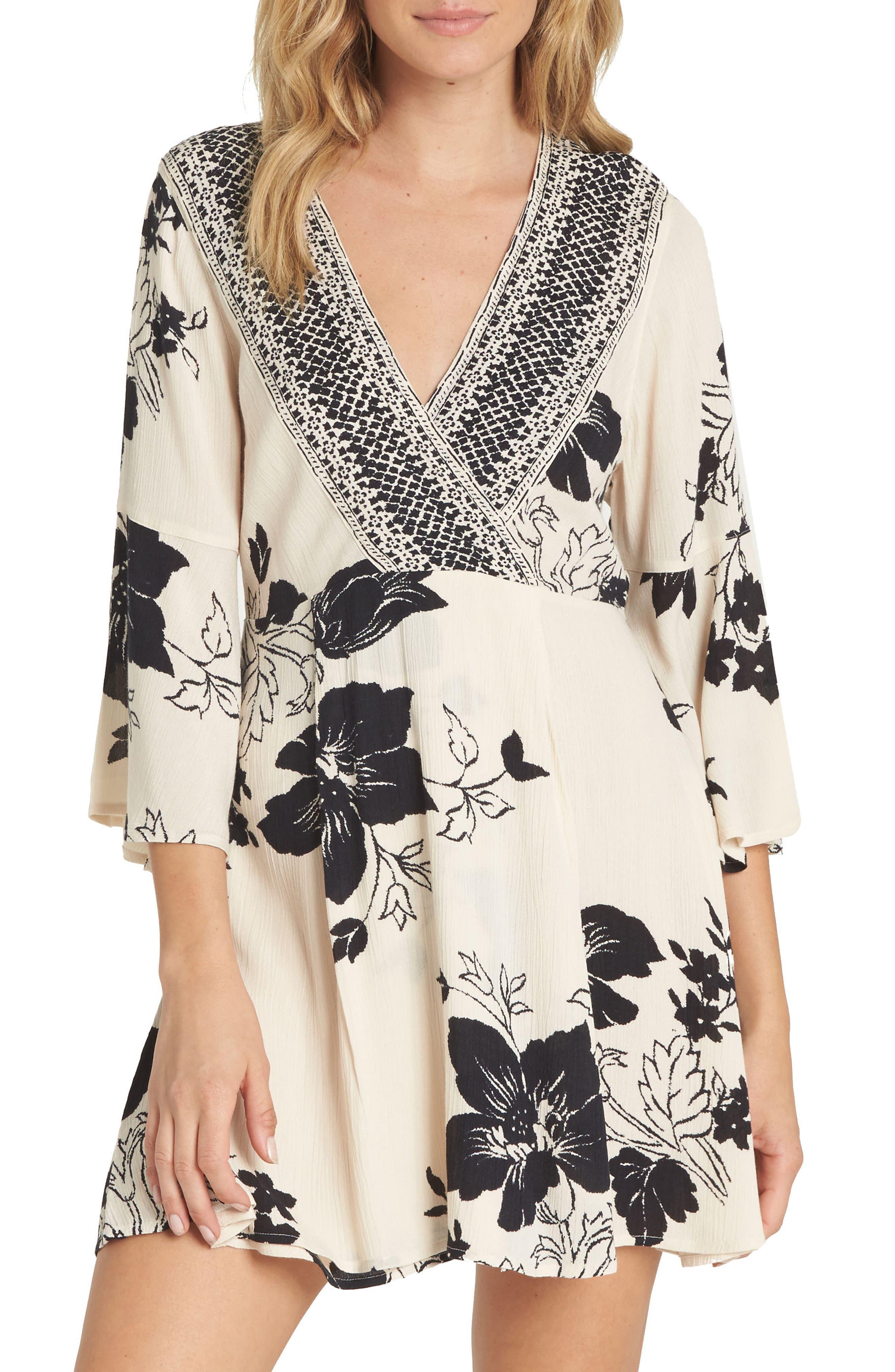 Divine Floral Print Dress,                             Main thumbnail 1, color,                             Ivory