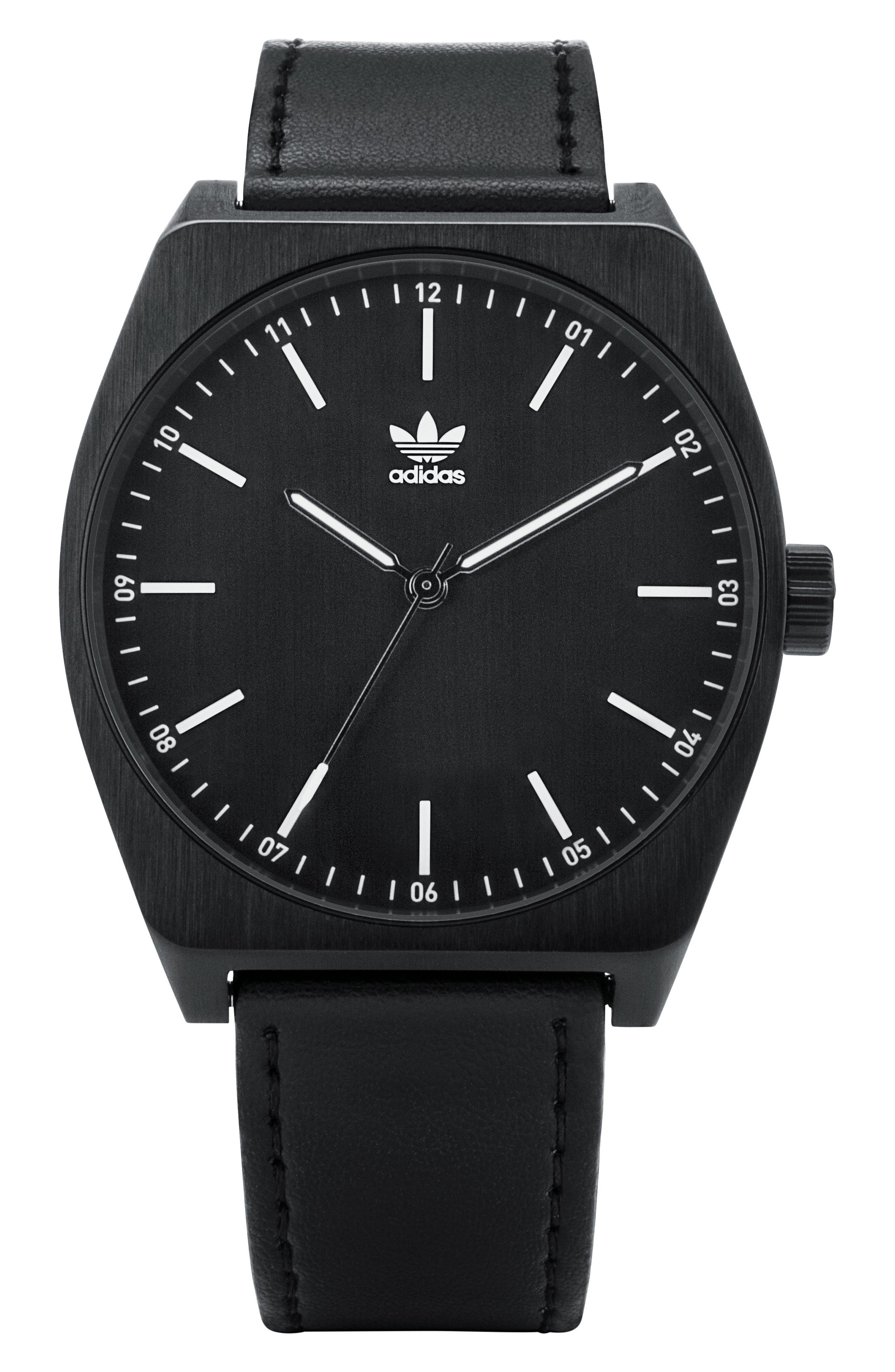 Process Leather Strap Watch, 38mm,                         Main,                         color, Black/ White
