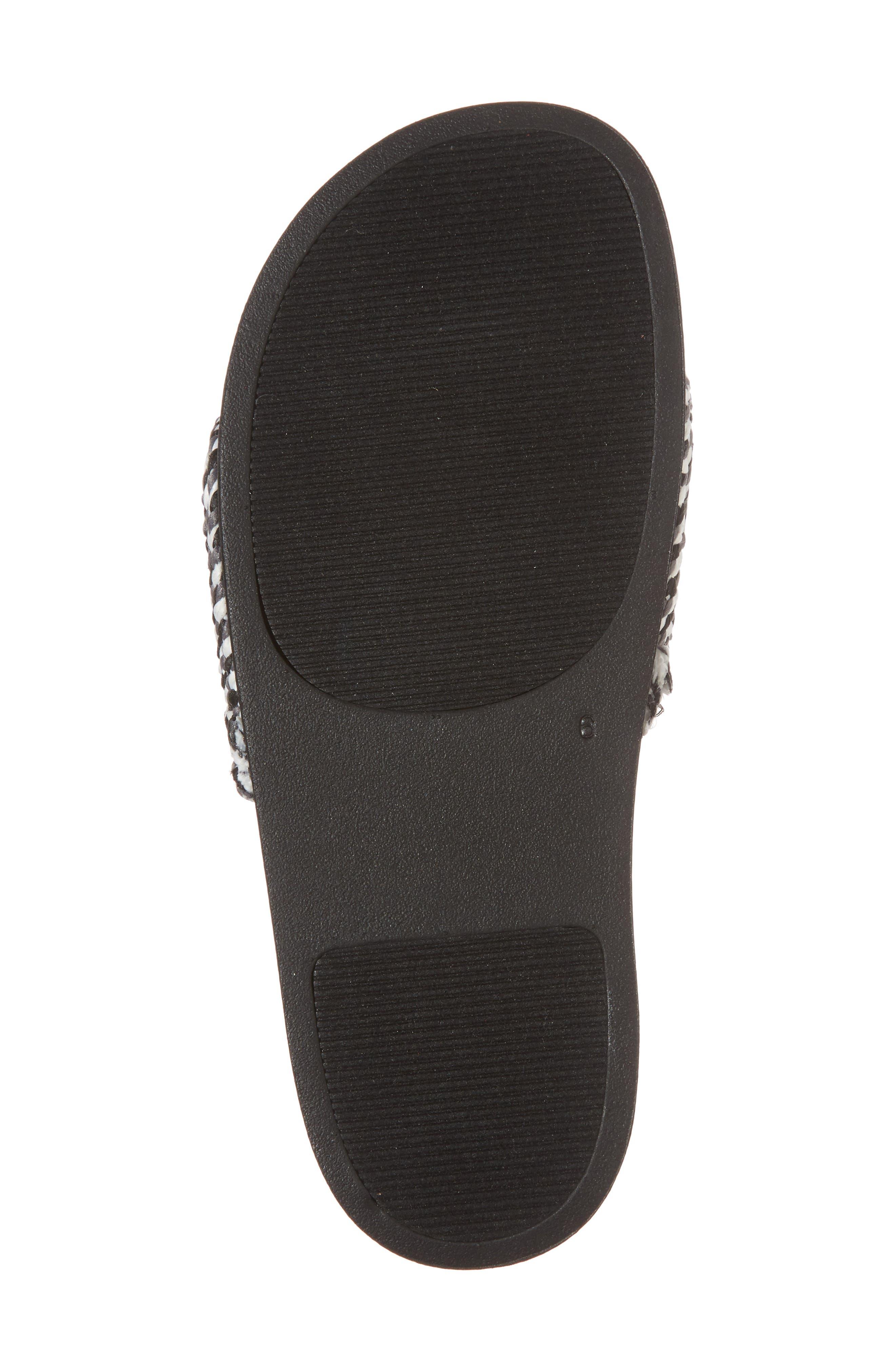 Tressa Woven Slide Sandal,                             Alternate thumbnail 6, color,                             Black/ White Woven Fabric
