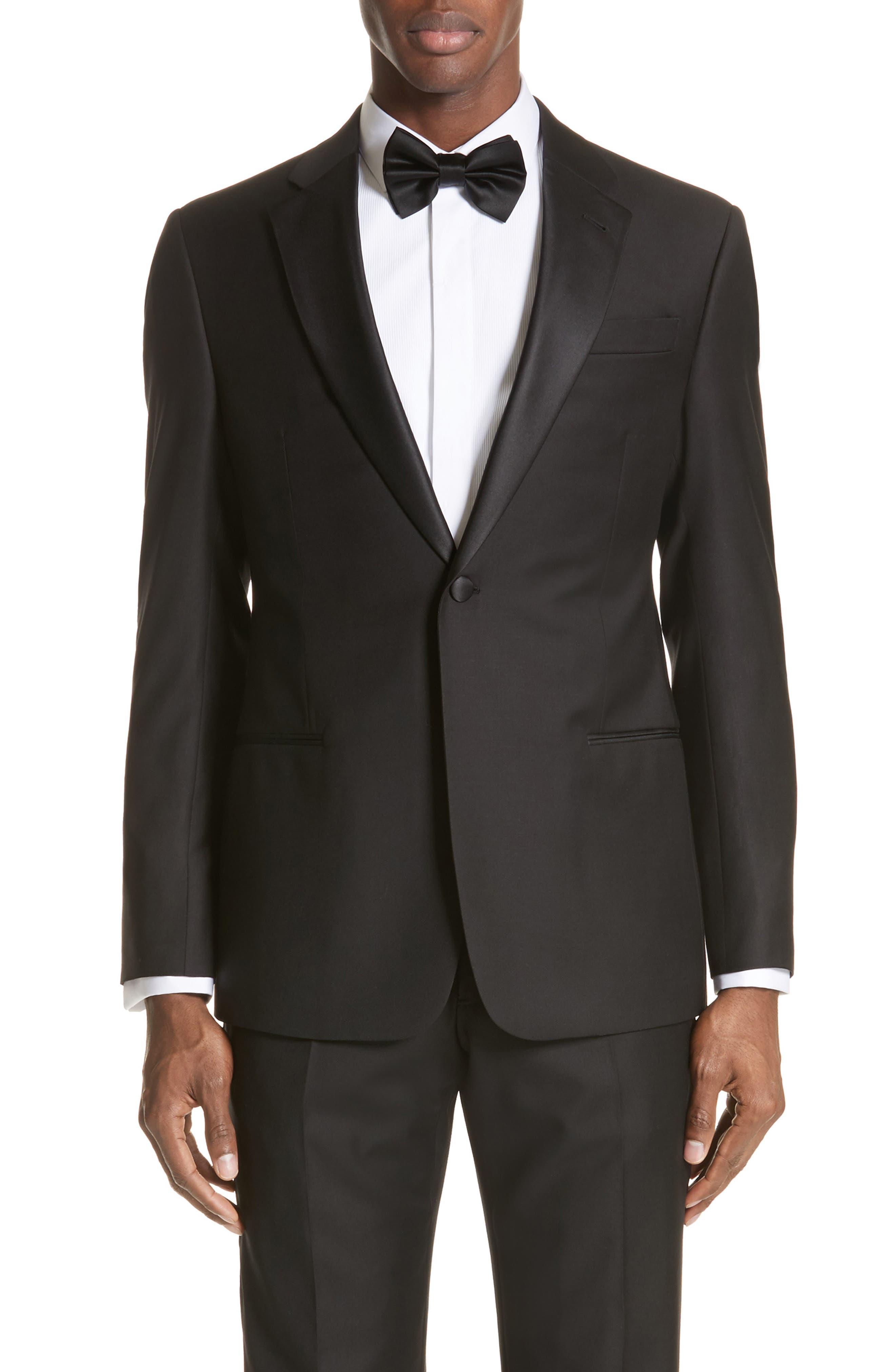 Trim Fit Wool Tuxedo,                             Alternate thumbnail 5, color,                             Black