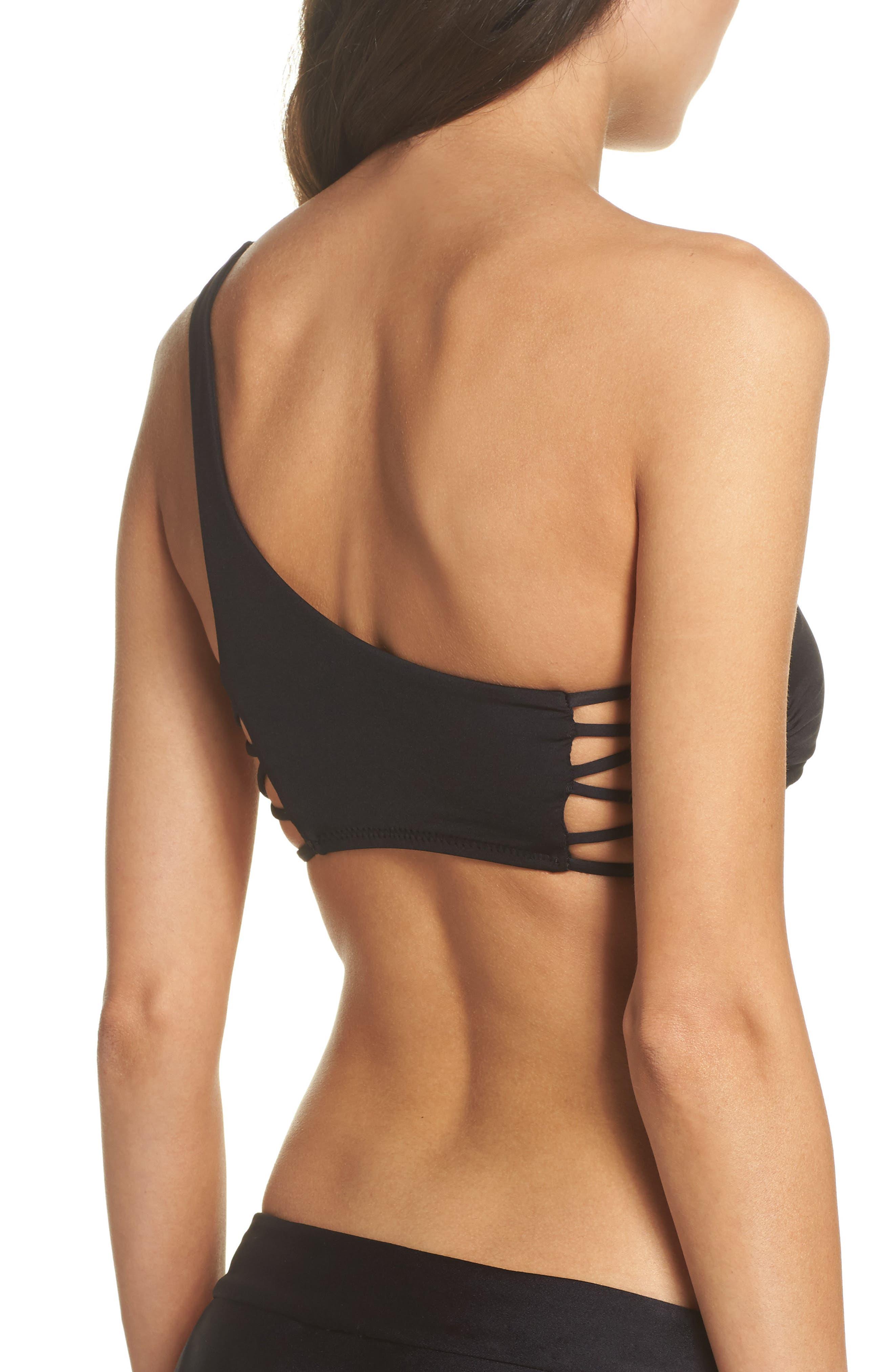 Paradise One-Shoulder Bikini Top,                             Alternate thumbnail 2, color,                             Black