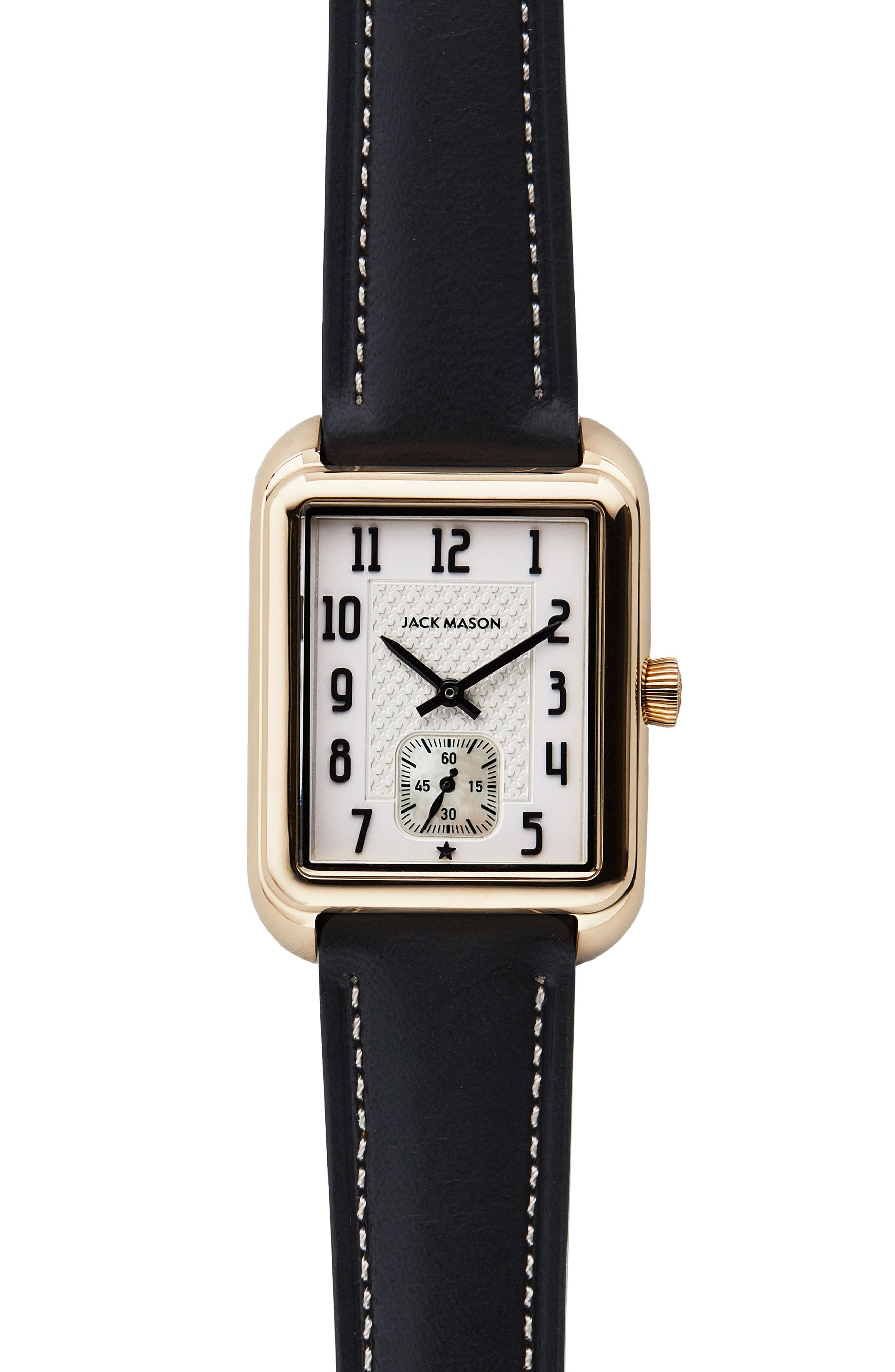 Issue No. 2 Leather Strap Watch, 34mm x 28mm,                             Main thumbnail 1, color,                             Black/ White/ Gold