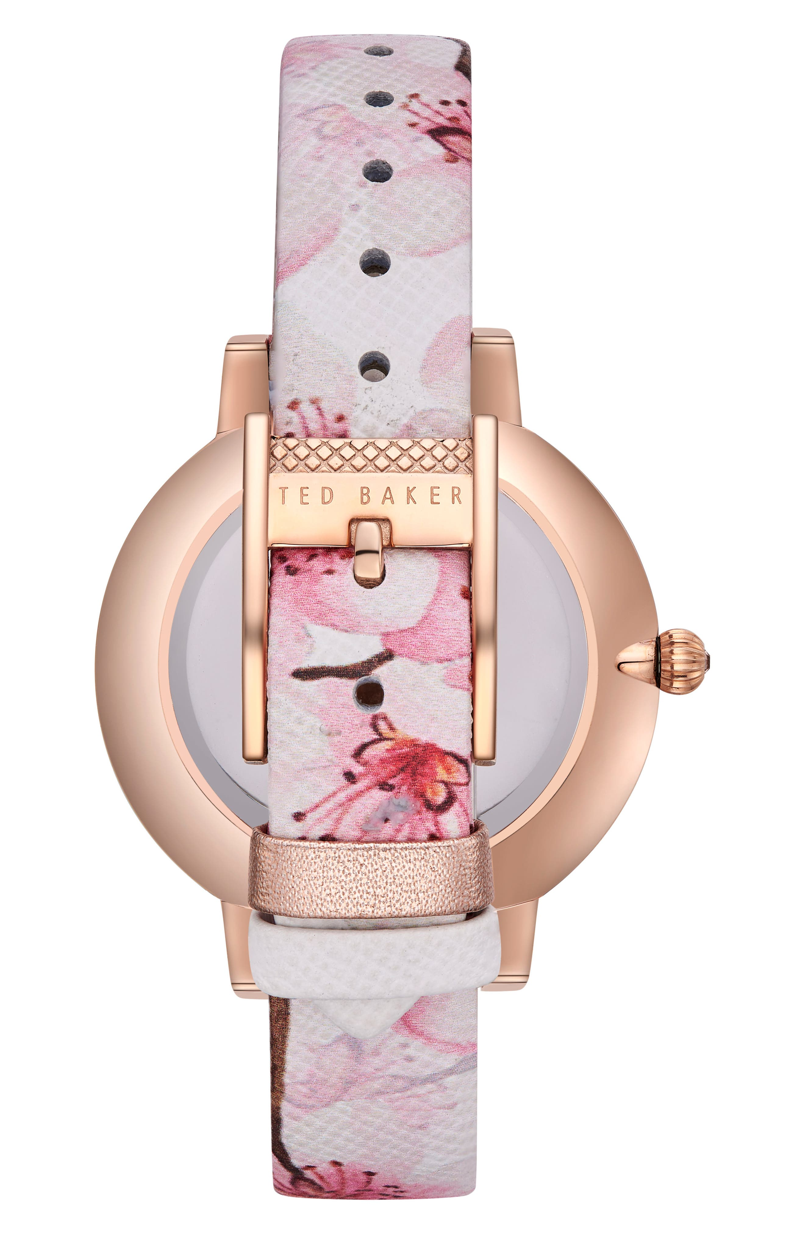 Kate Leather Strap Watch, 38mm,                             Alternate thumbnail 3, color,                             Printed/ Silver/ Rose Gold