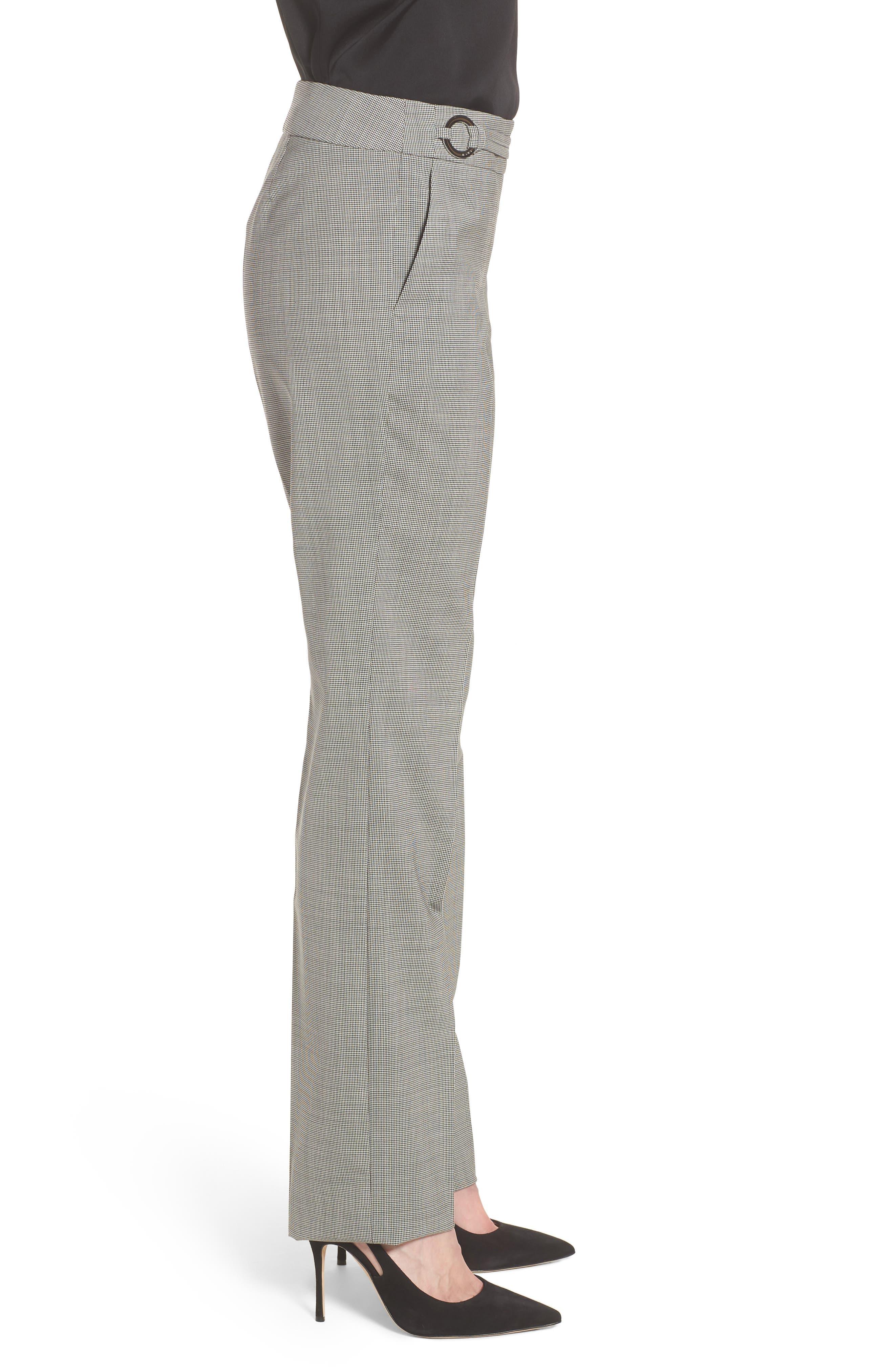 Tavilla Ring Belt Straight Leg Wool Suit Pants,                             Alternate thumbnail 3, color,                             Black Fantasy