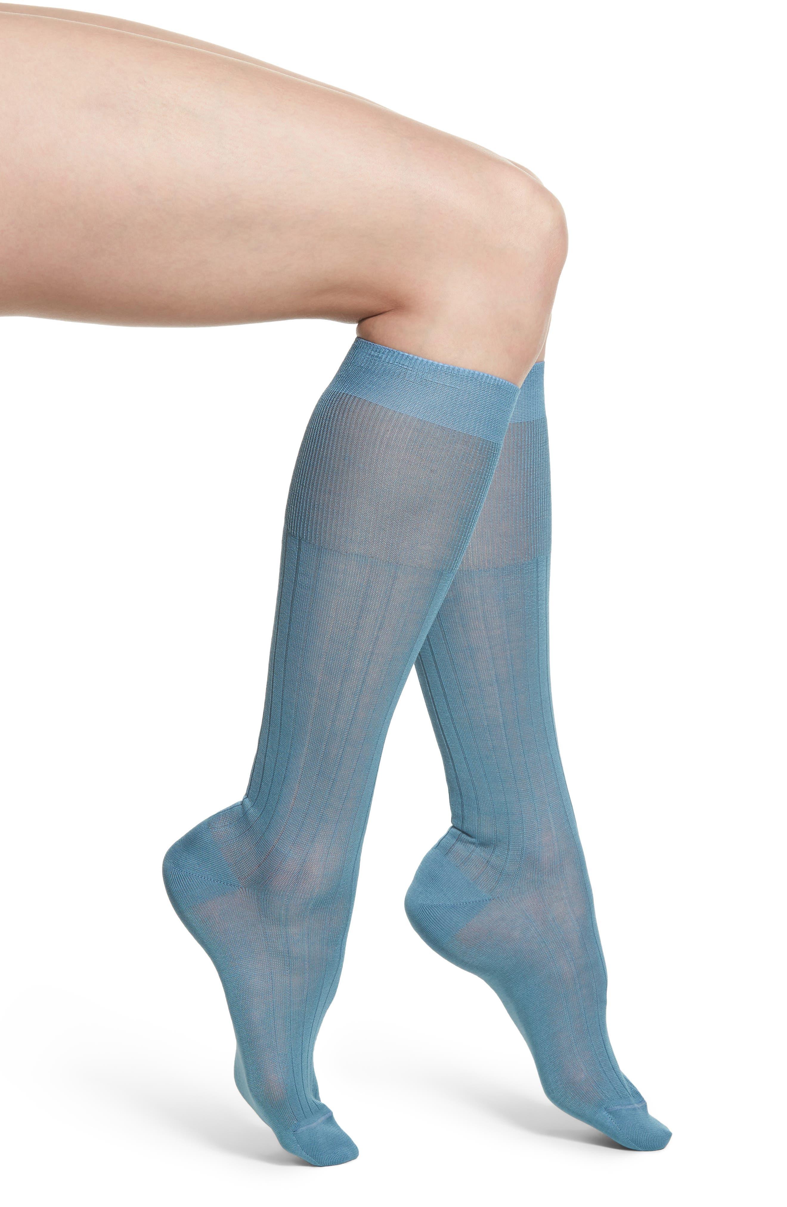 Ribbed Trouser Socks,                         Main,                         color, Cielo