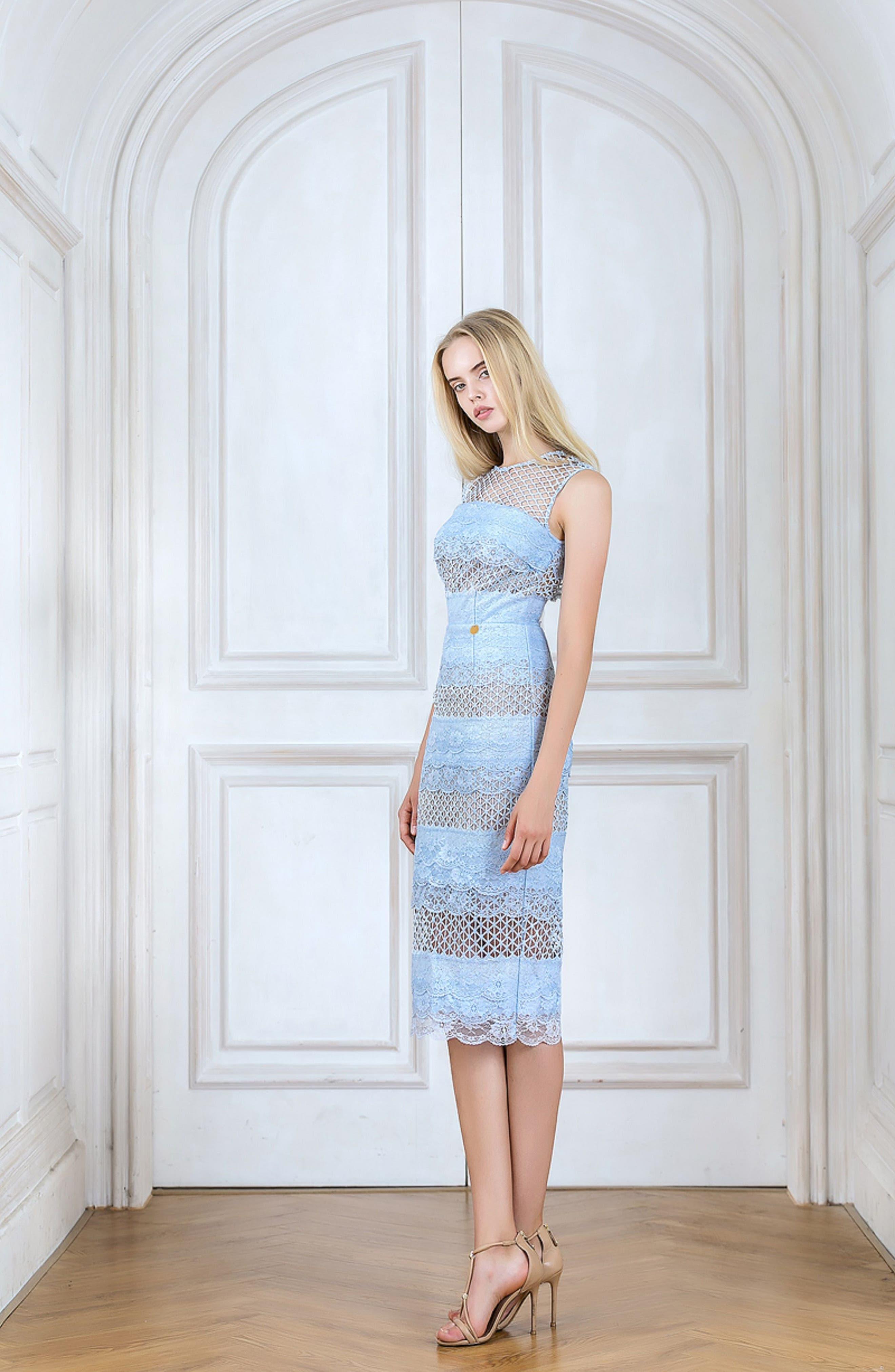 Sienna Lace Panel Sheath Dress,                             Alternate thumbnail 3, color,                             Sky