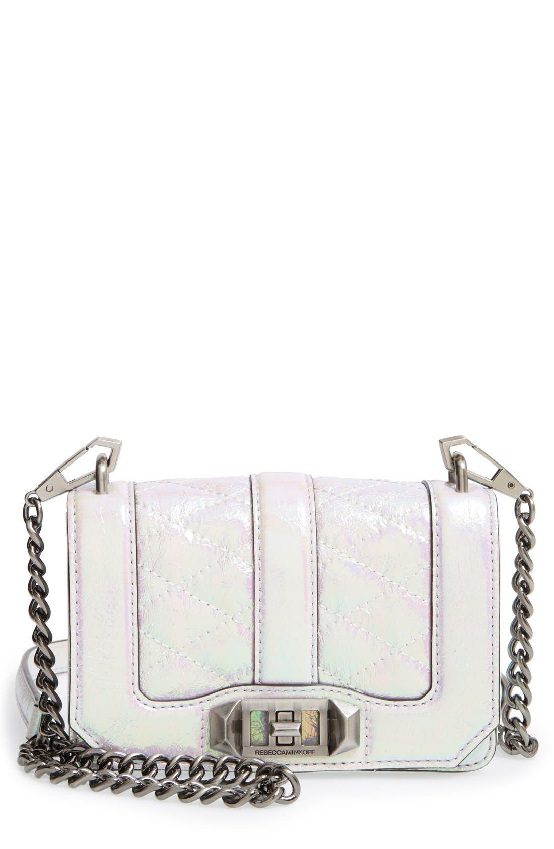 'Mini Love' Convertible Crossbody Bag,                             Main thumbnail 1, color,                             Opal/ Antique Silver