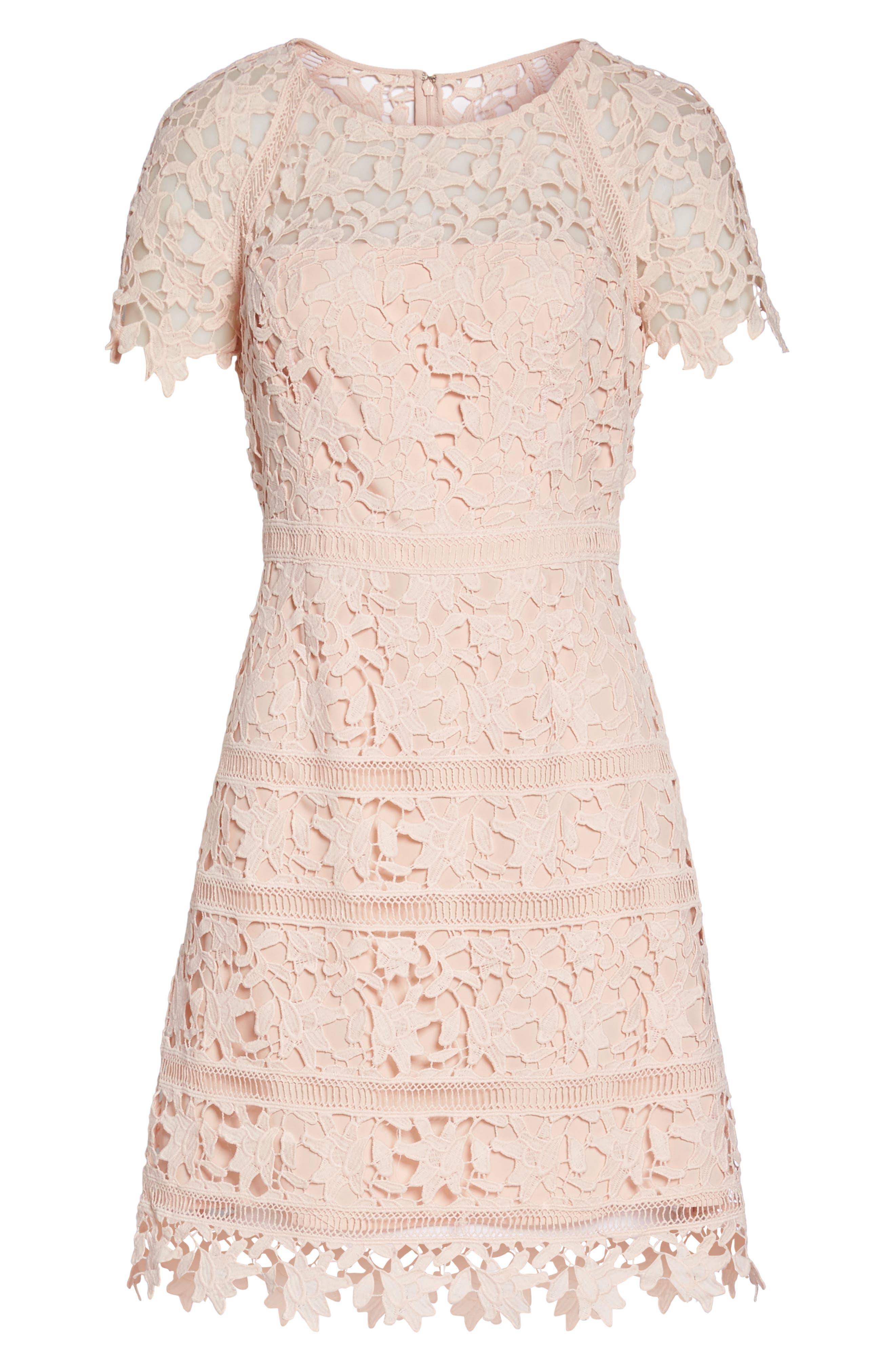 Crochet Overlay Dress,                             Alternate thumbnail 10, color,                             Blush
