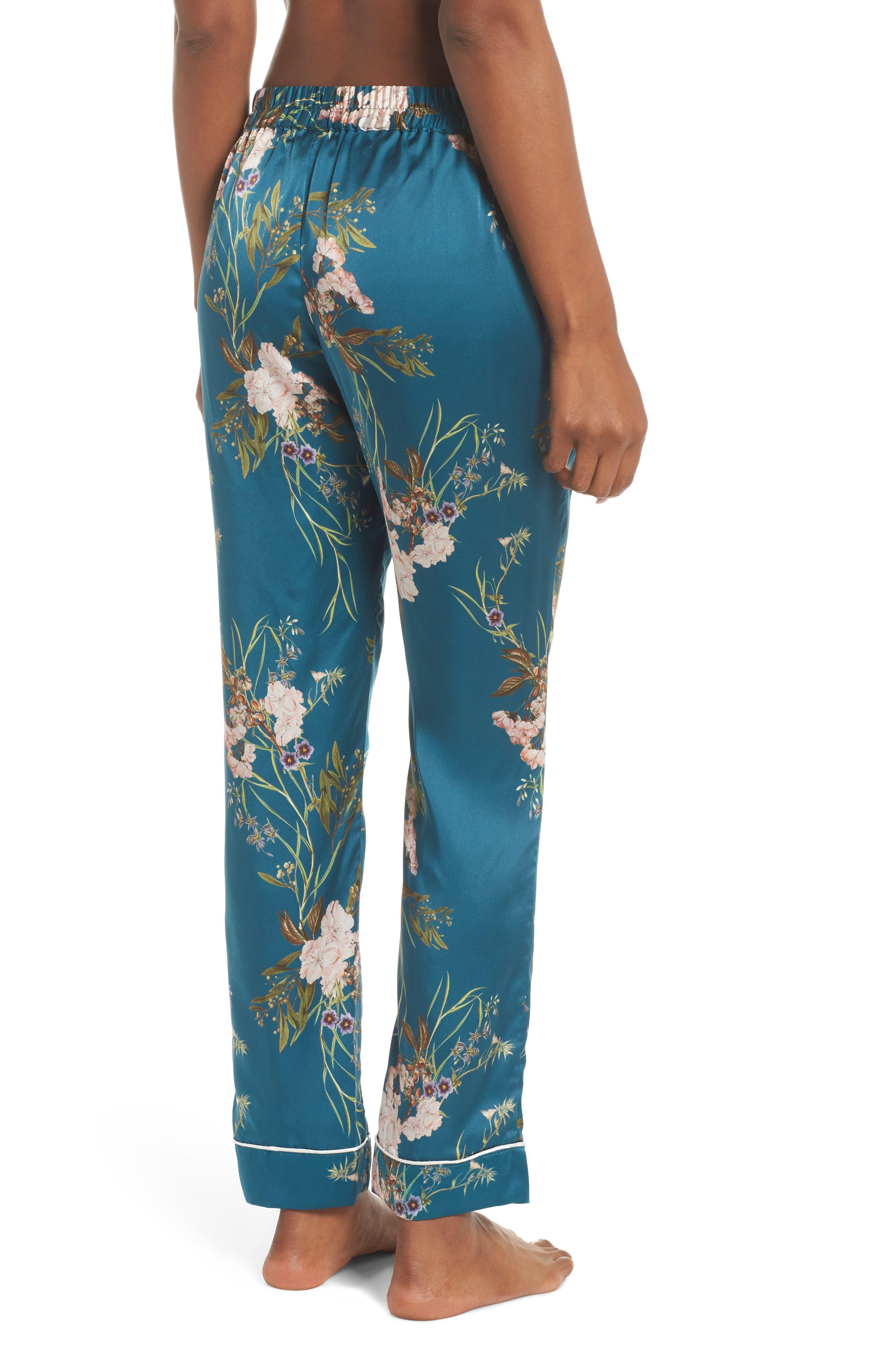 Alexandra Silk Pajama Pants,                             Alternate thumbnail 2, color,                             Teal Floral
