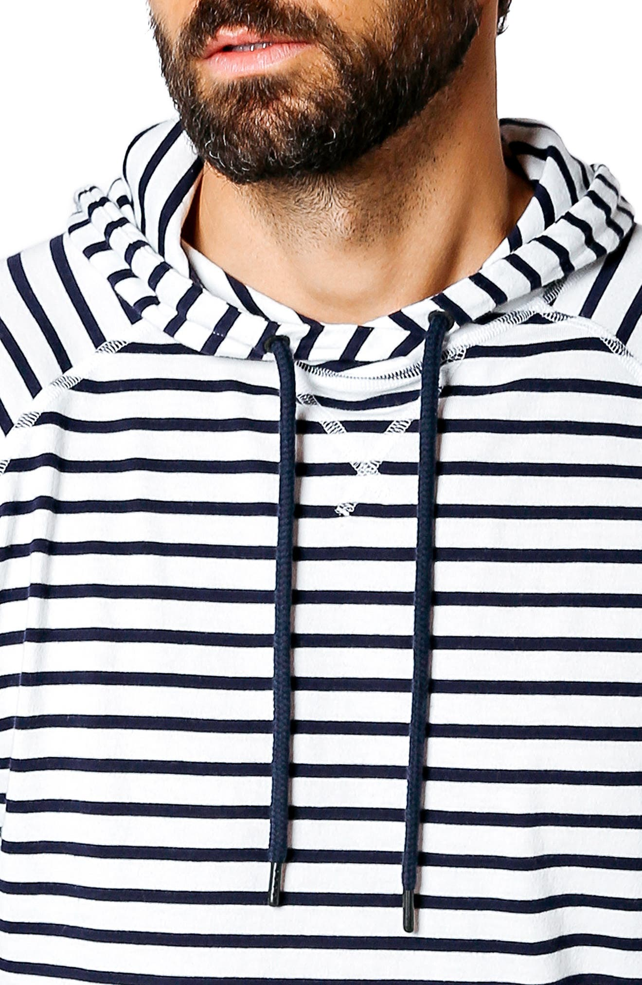 Trim Fit Hoodie,                             Alternate thumbnail 4, color,                             White / Navy