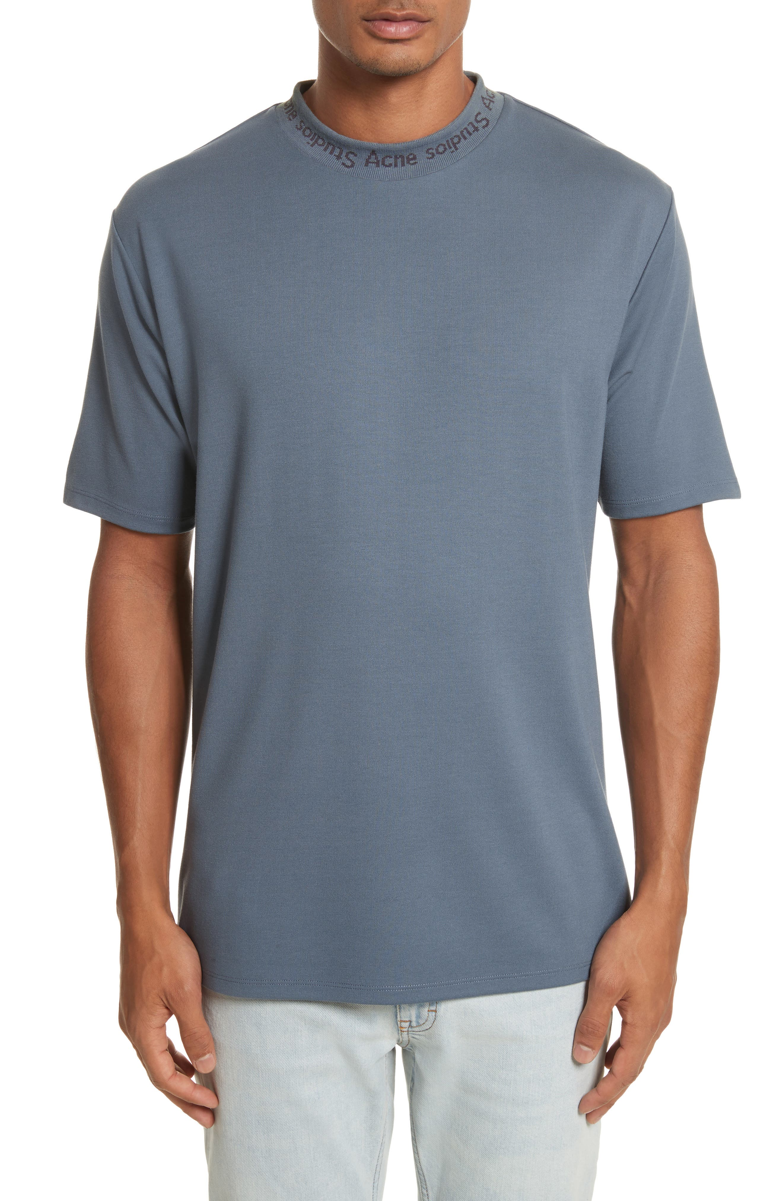Navid Logo Collar T-Shirt,                             Main thumbnail 1, color,                             Pigeon Blue