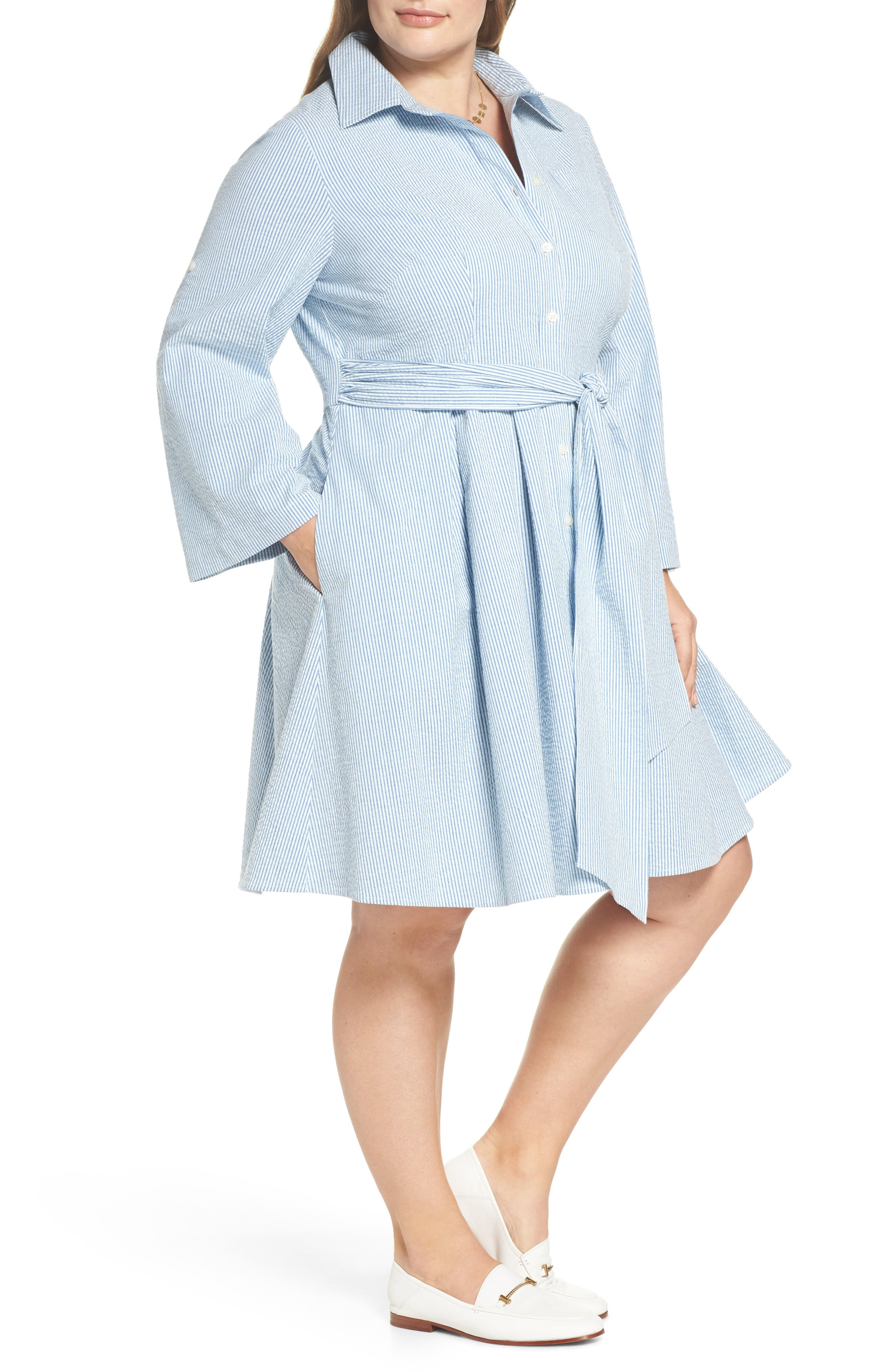 Seersucker Shirtdress,                             Alternate thumbnail 3, color,                             Blue Seersucker