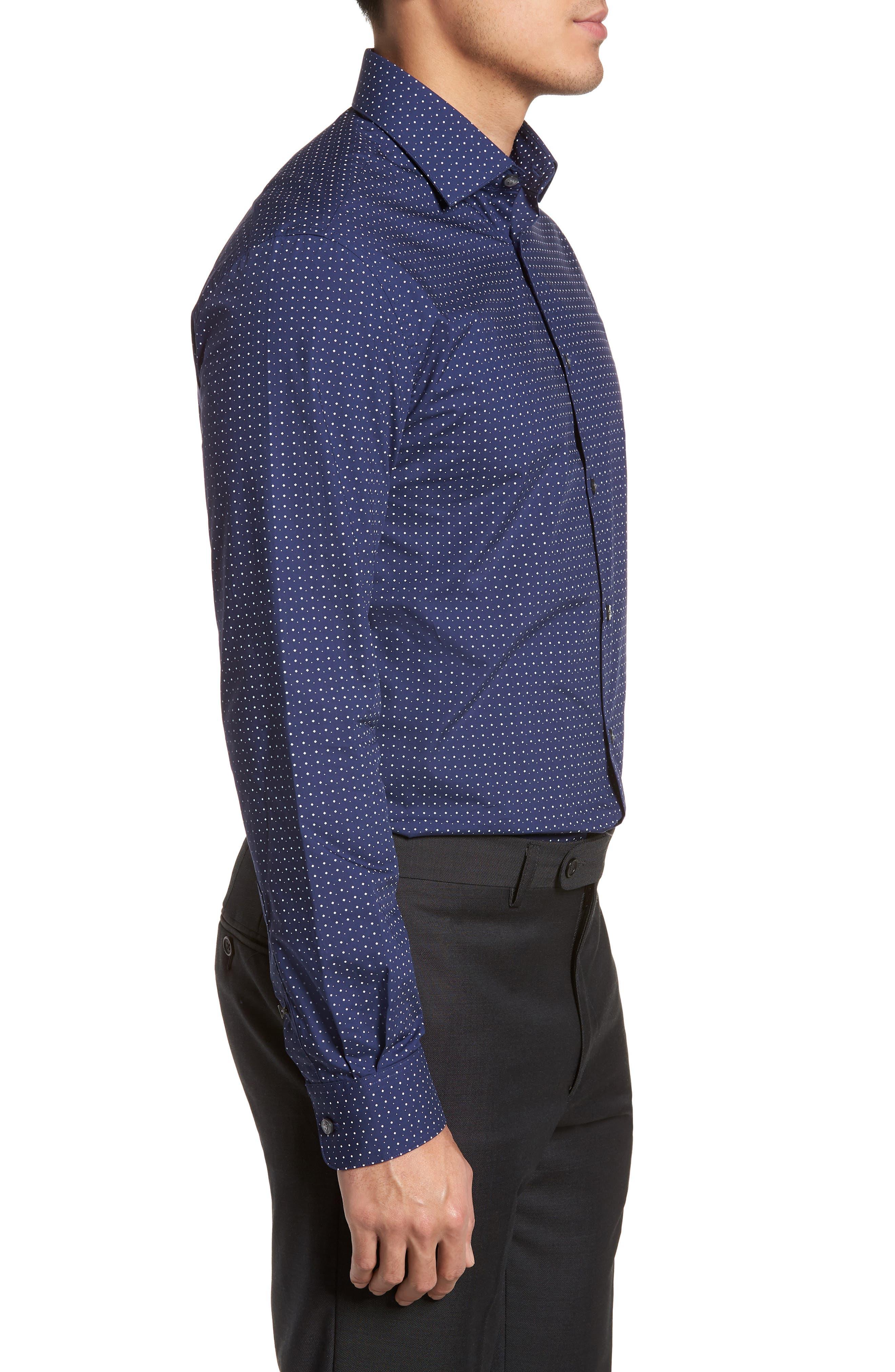 Slim Fit Diamond Dress Shirt,                             Alternate thumbnail 4, color,                             Sapphire