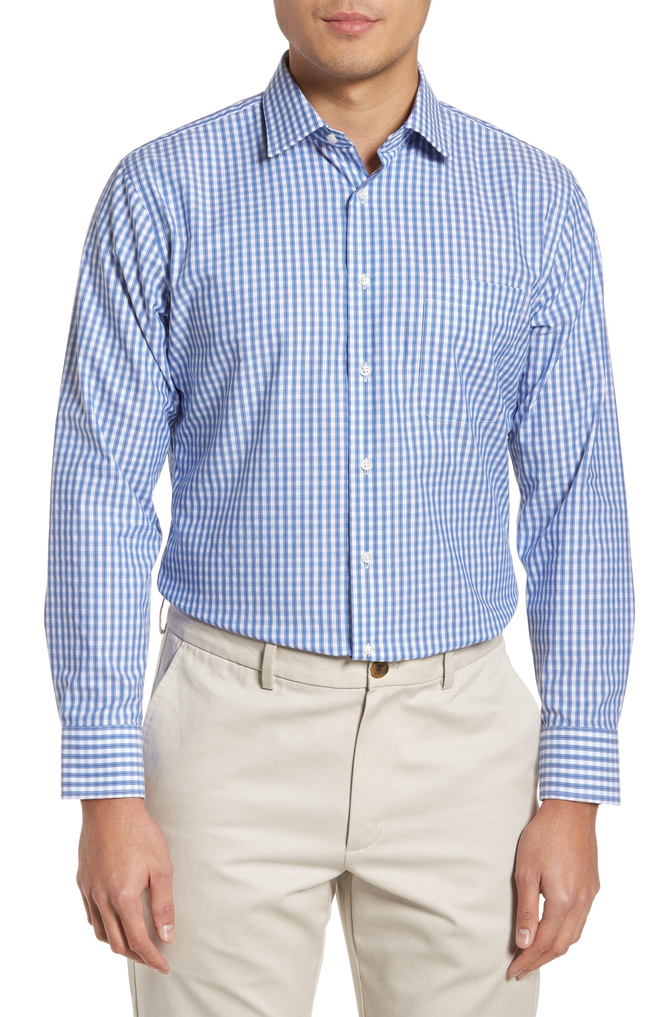 Trim Fit Non-Iron Check Dress Shirt,                         Main,                         color, Blue Marine