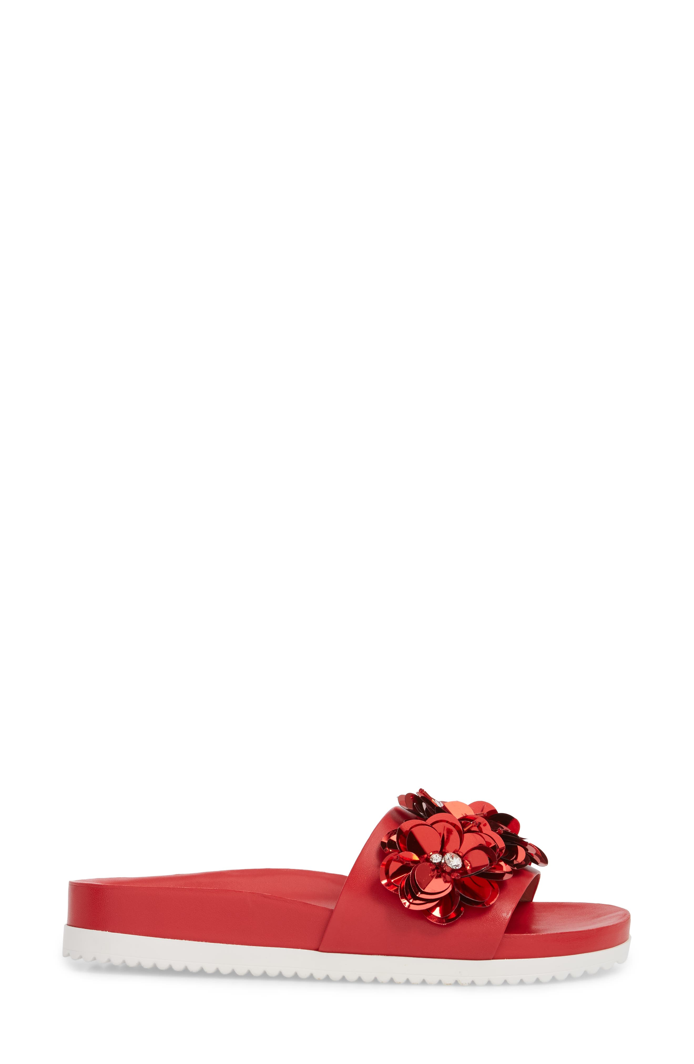 Lotus Embellished Flower Sandal Slide,                             Alternate thumbnail 3, color,                             Red Fabric