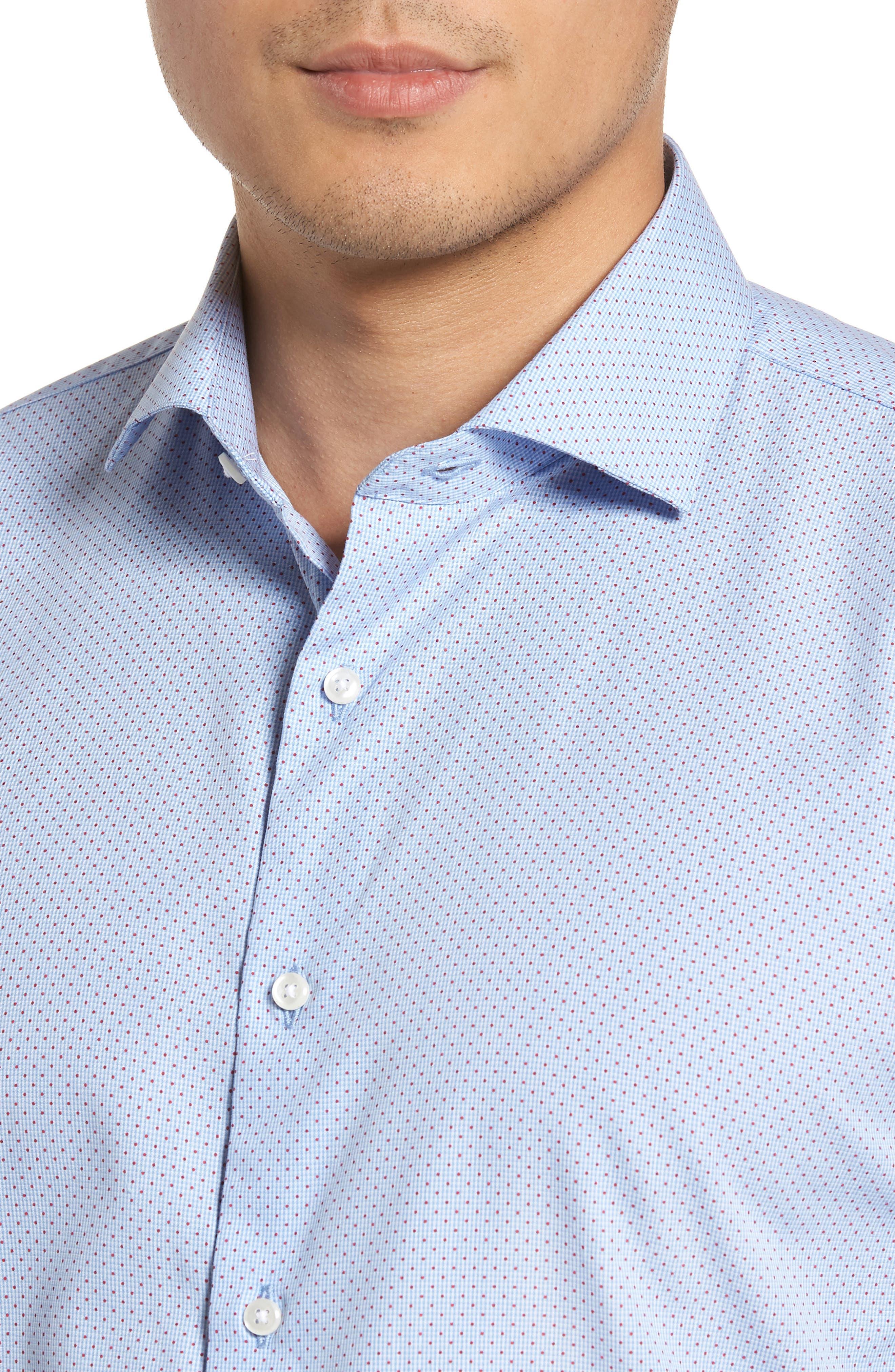 Trim Fit Print Dress Shirt,                             Alternate thumbnail 2, color,                             Blue Provence