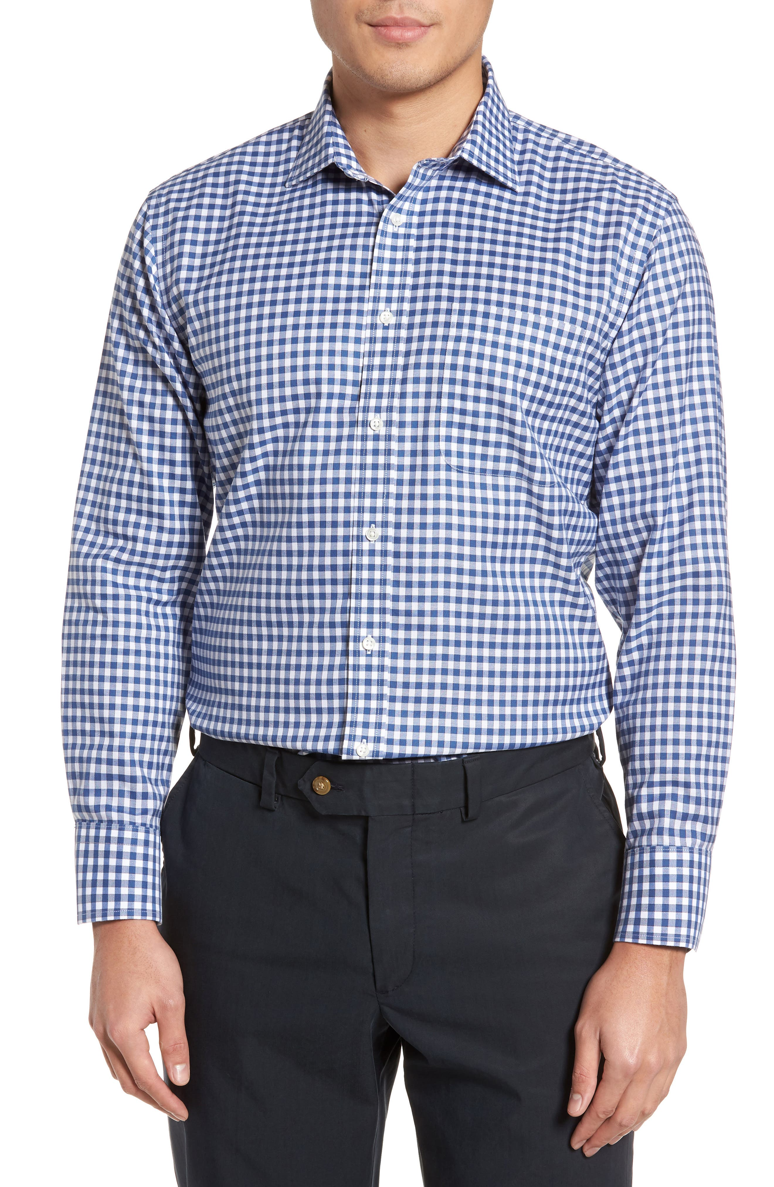 Smartcare<sup>™</sup> Trim Fit Check Dress Shirt,                         Main,                         color, Blue Canal