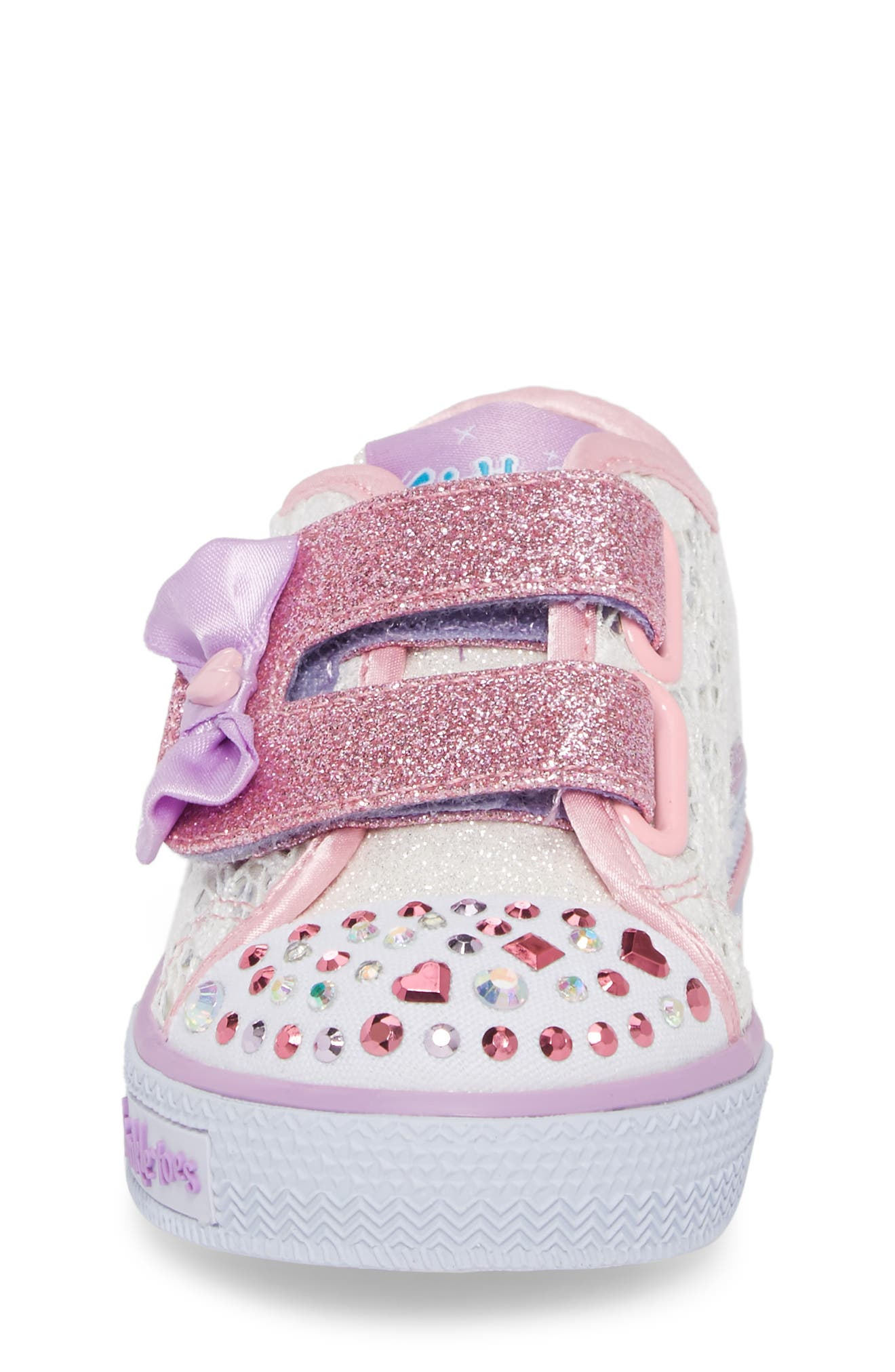 Twinkle Toes Shuffles Light-Up Glitter Sneaker,                             Alternate thumbnail 4, color,                             White/ Silver/ Light Pink