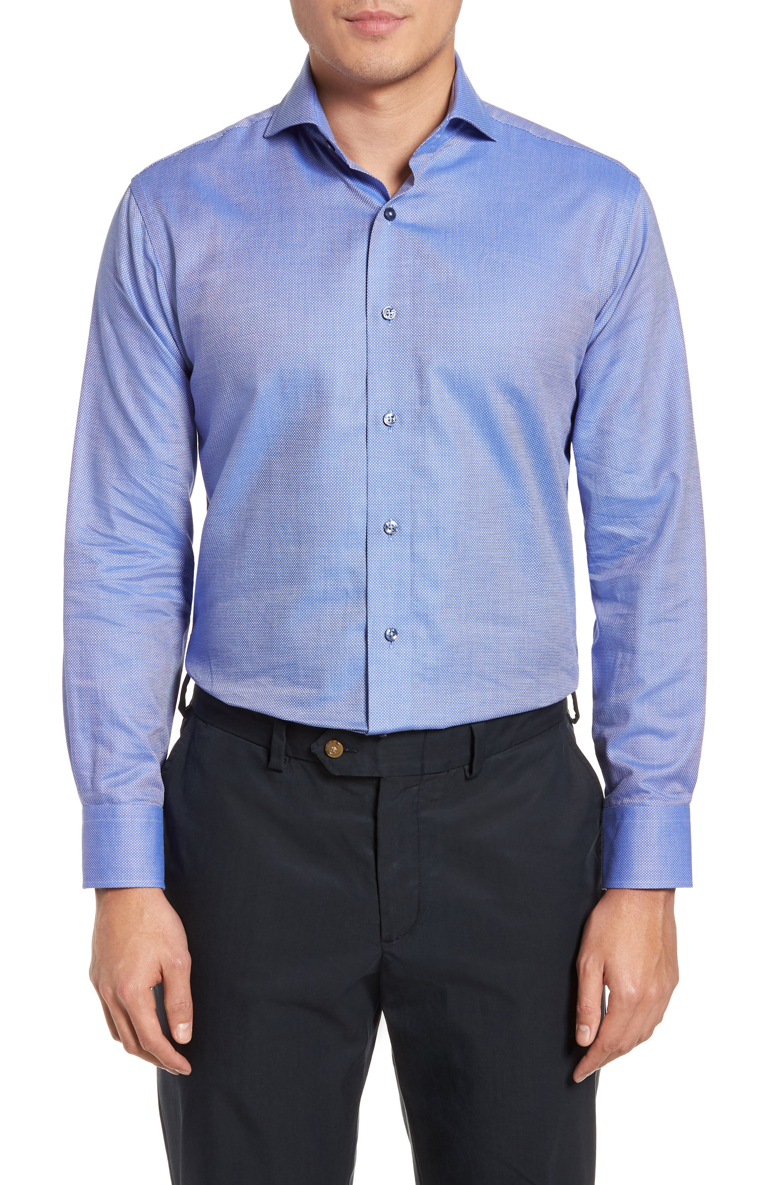 Trim Fit Textured Dress Shirt,                         Main,                         color, Navy