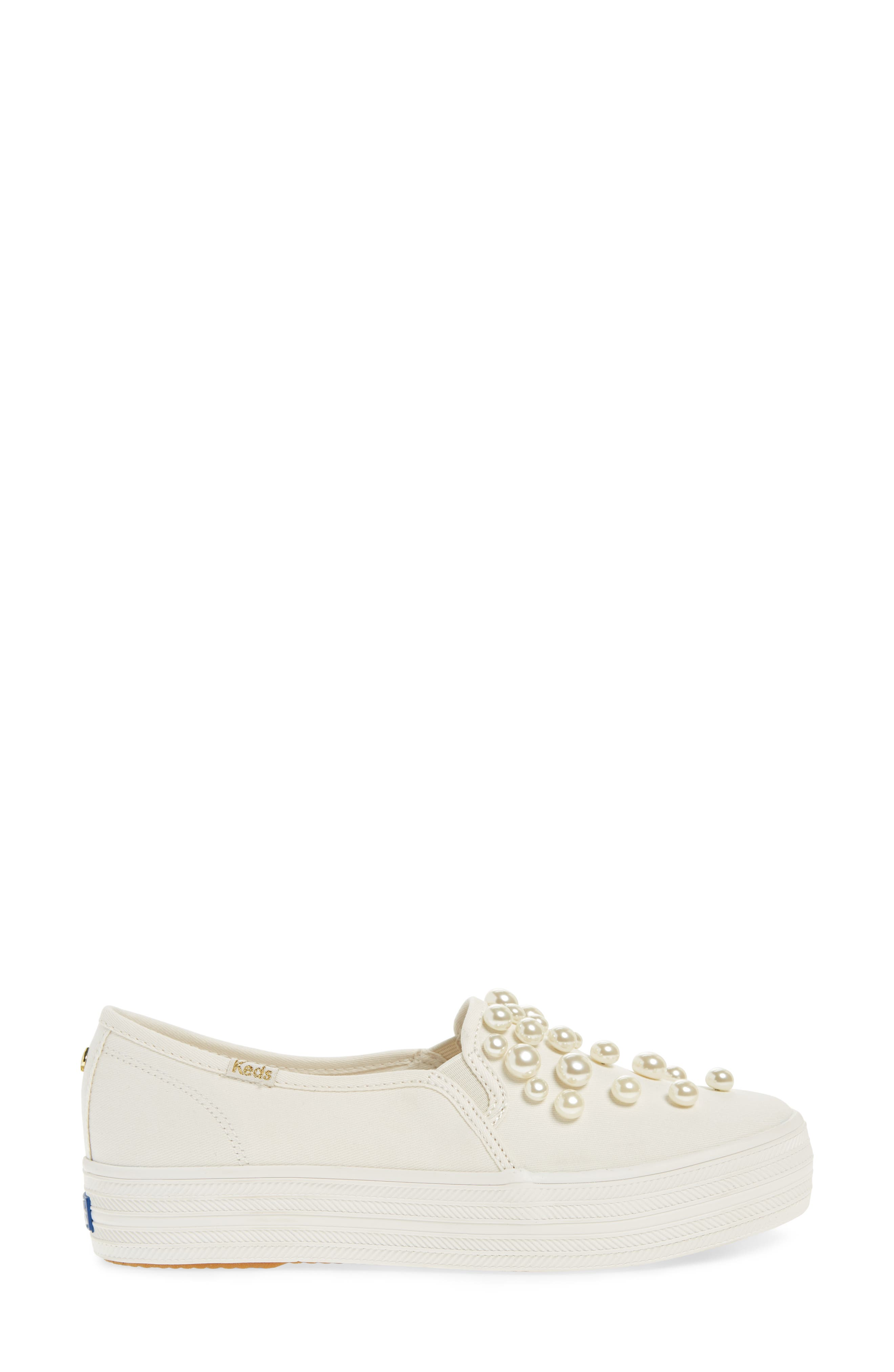 triple decker embellished slip-on sneaker,                             Alternate thumbnail 3, color,                             Cream