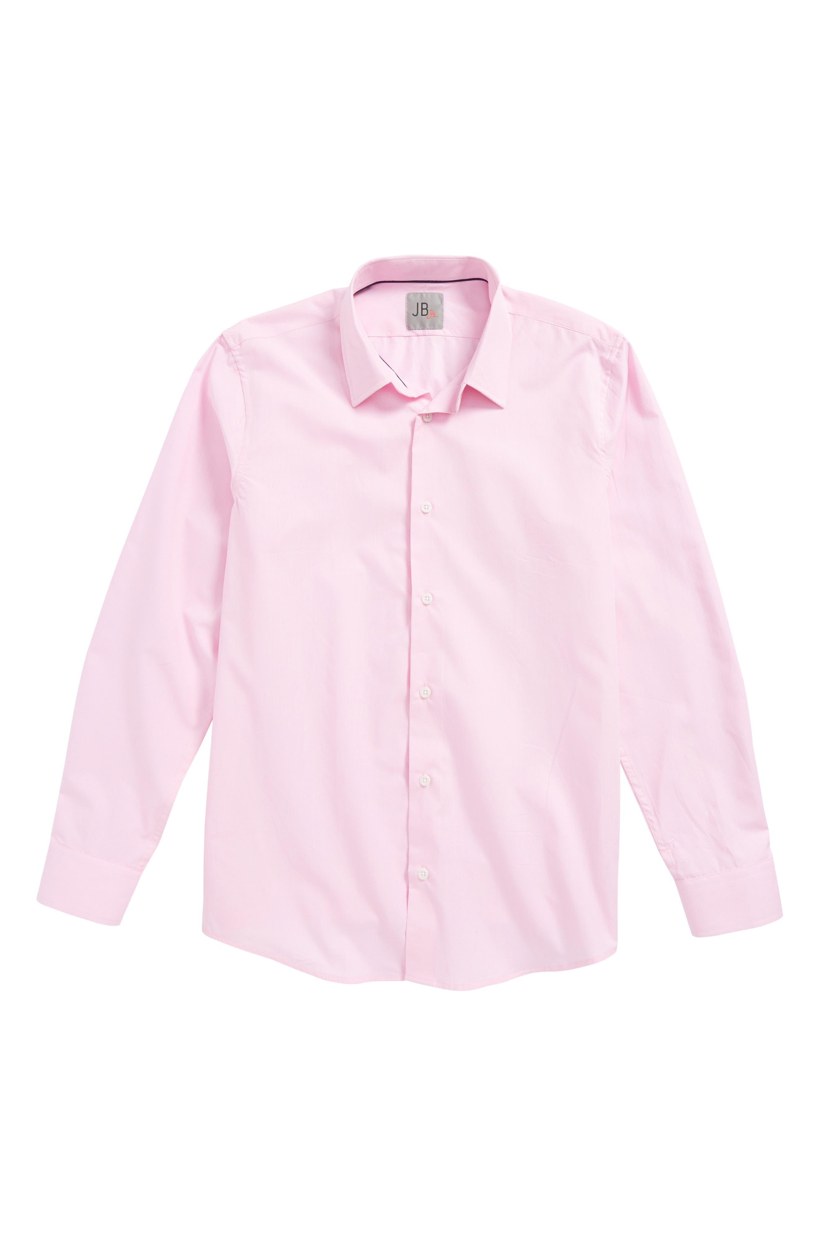 Solid Dress Shirt,                         Main,                         color, Pink