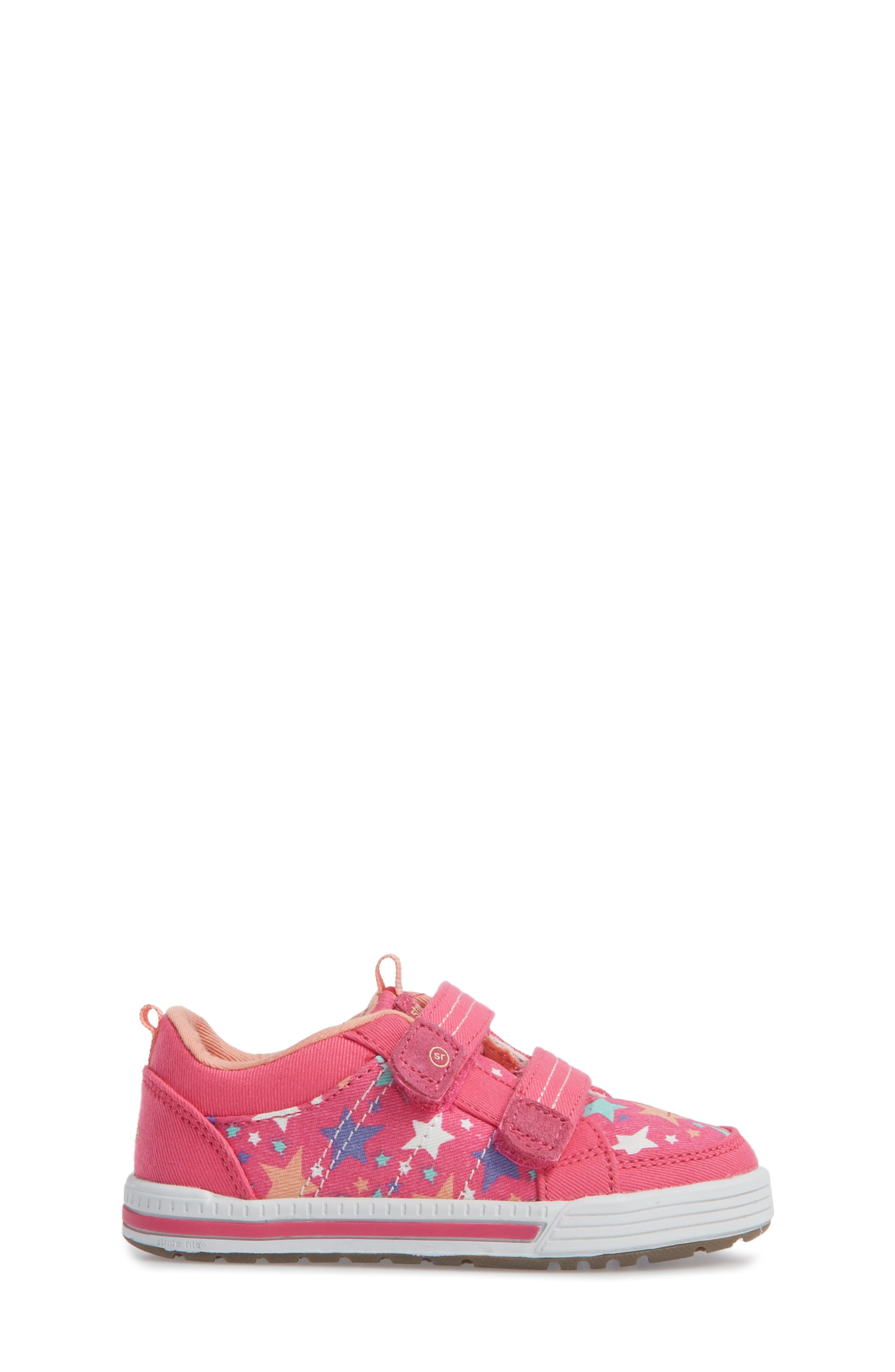 Logan Patterned Sneaker,                             Alternate thumbnail 3, color,                             Pink Star
