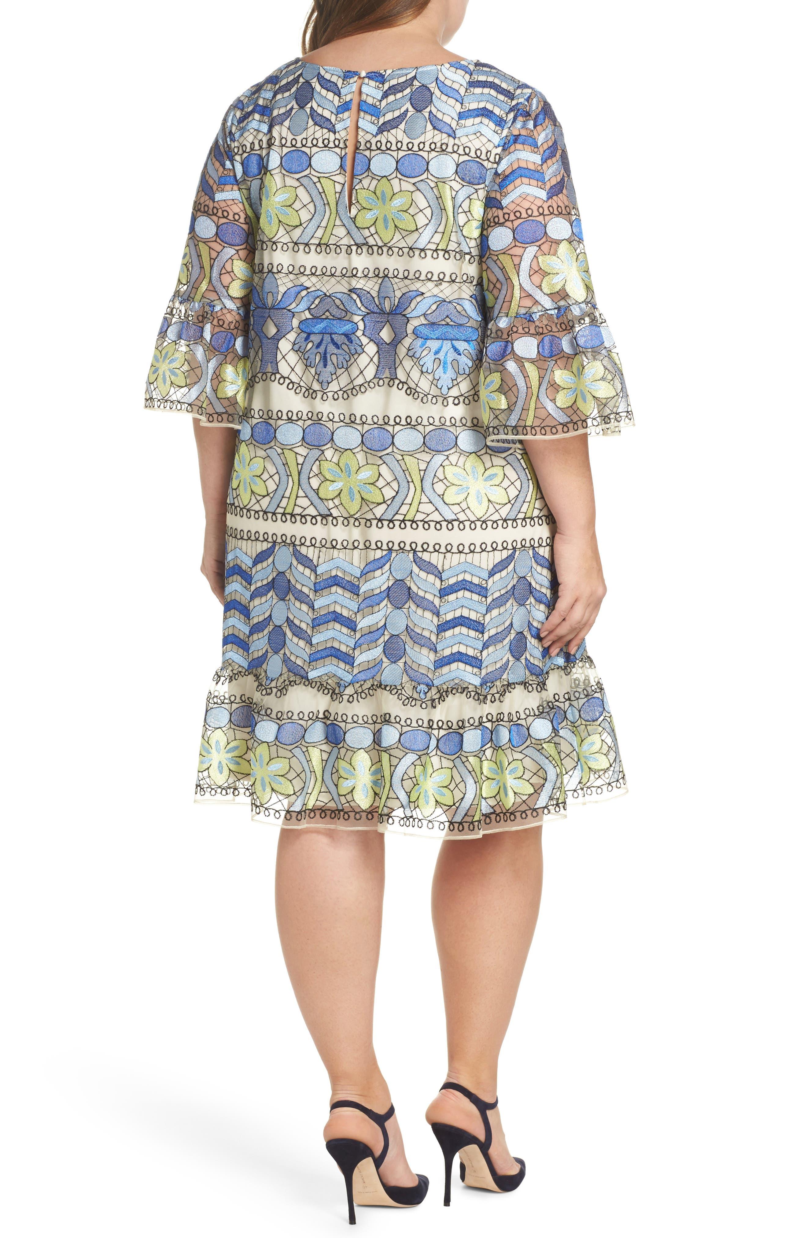 Emboidered Ruffle Sleeve Dress,                             Alternate thumbnail 2, color,                             Blue