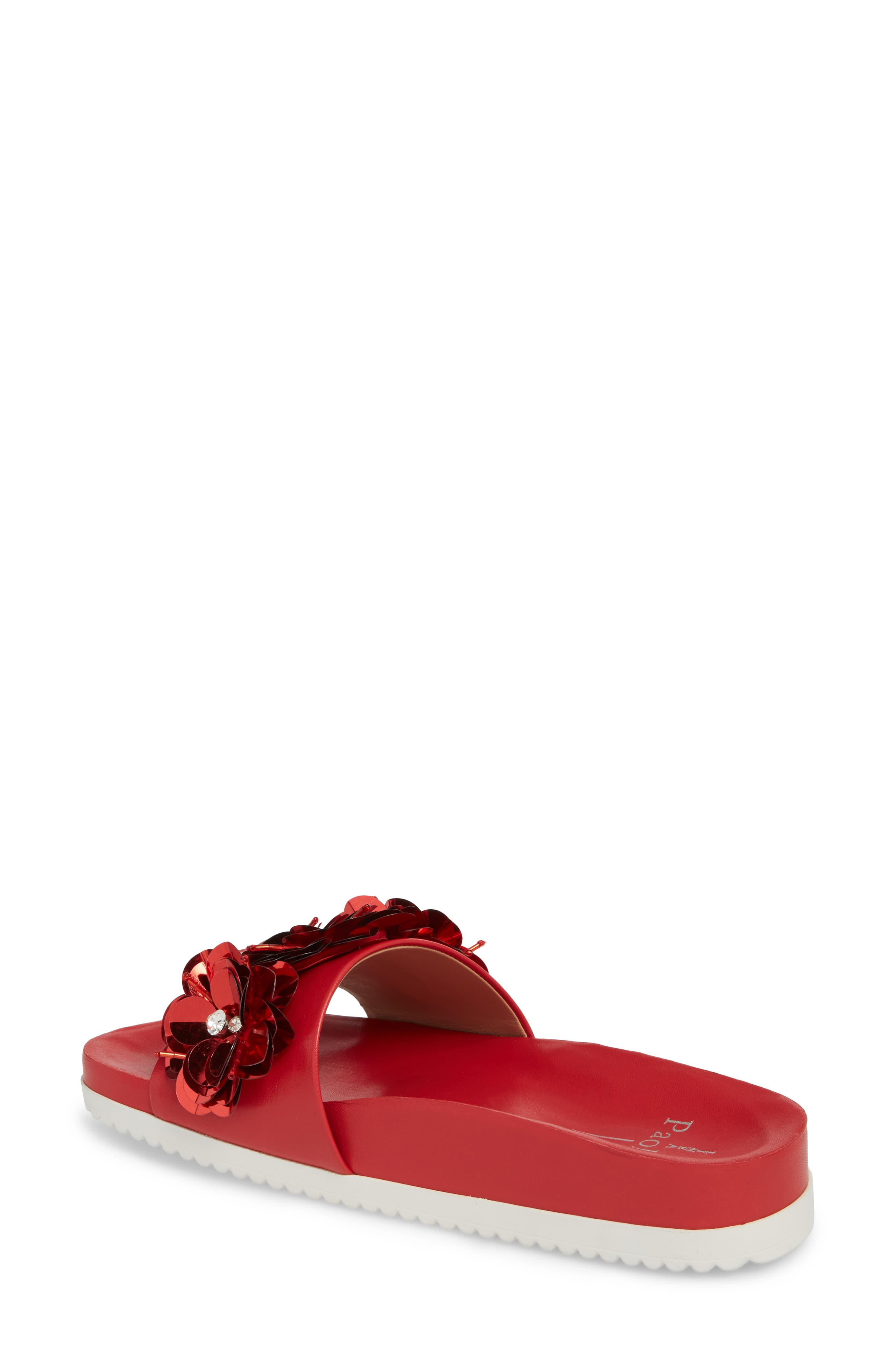 Lotus Embellished Flower Sandal Slide,                             Alternate thumbnail 2, color,                             Red Fabric