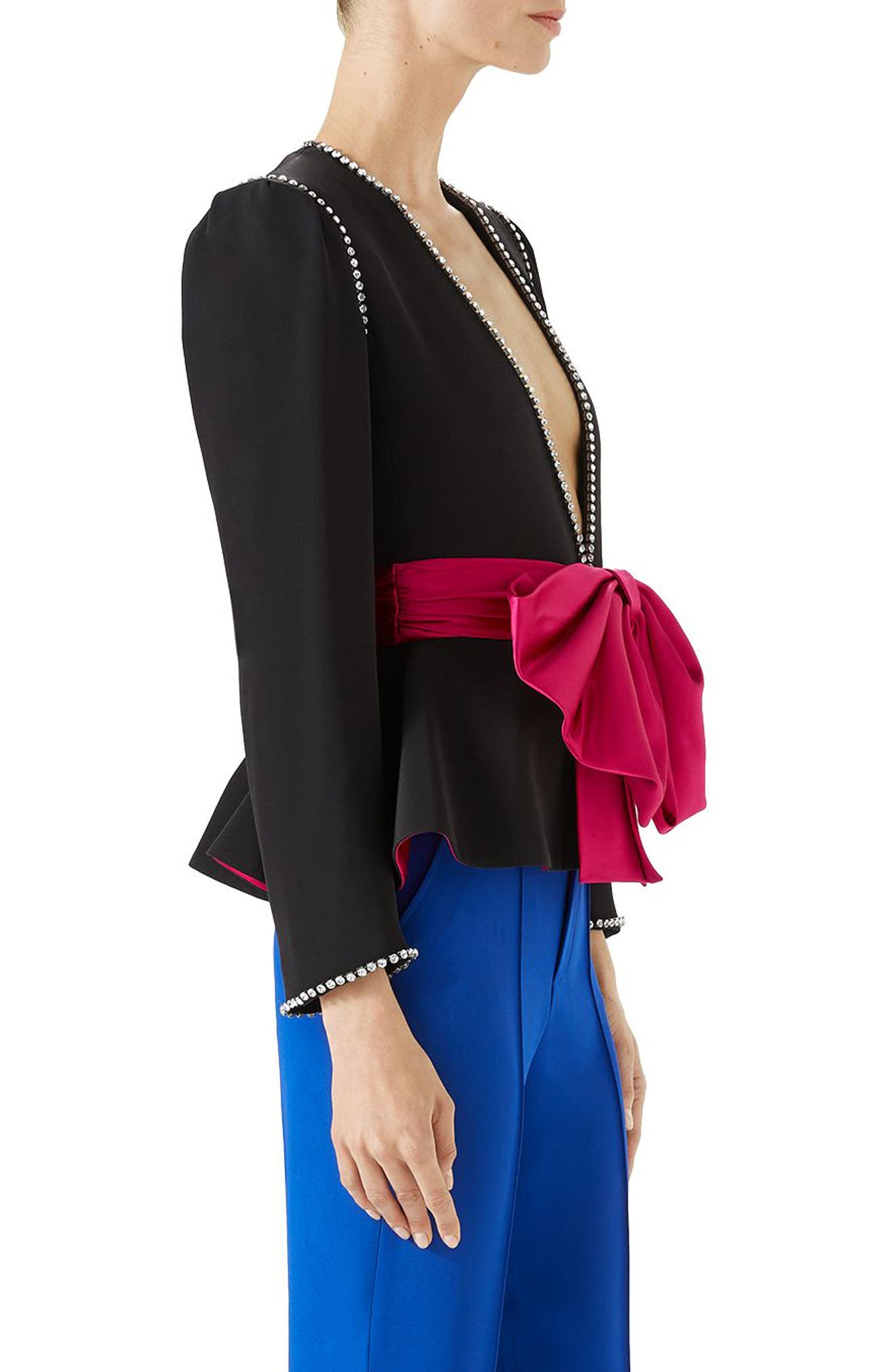 Bow Detail Marocain Jacket,                             Alternate thumbnail 3, color,                             Black/ Raspberry Juice