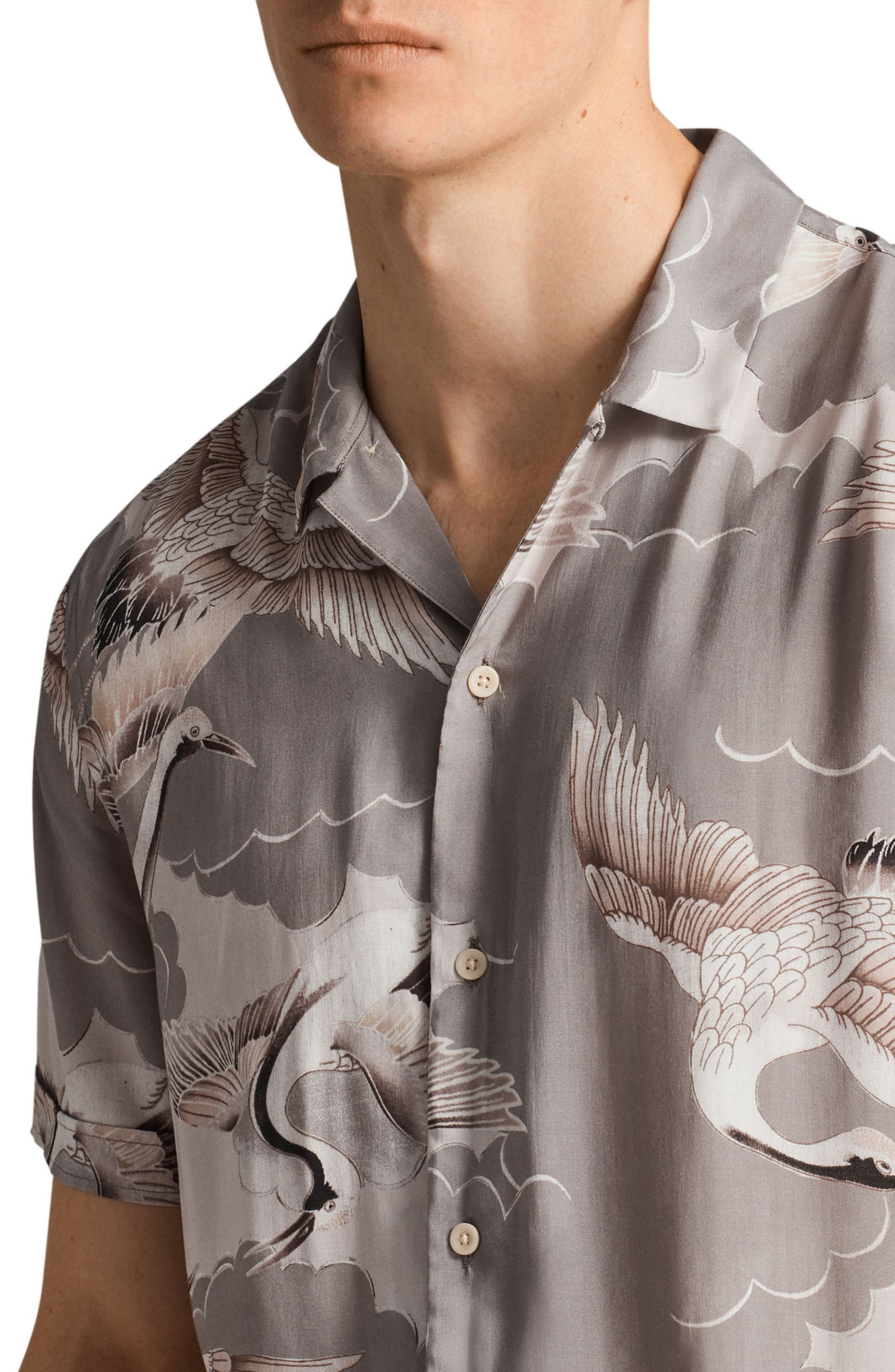 Alternate Image 4  - ALLSAINTS Romanji Slim Fit Short Sleeve Sport Shirt