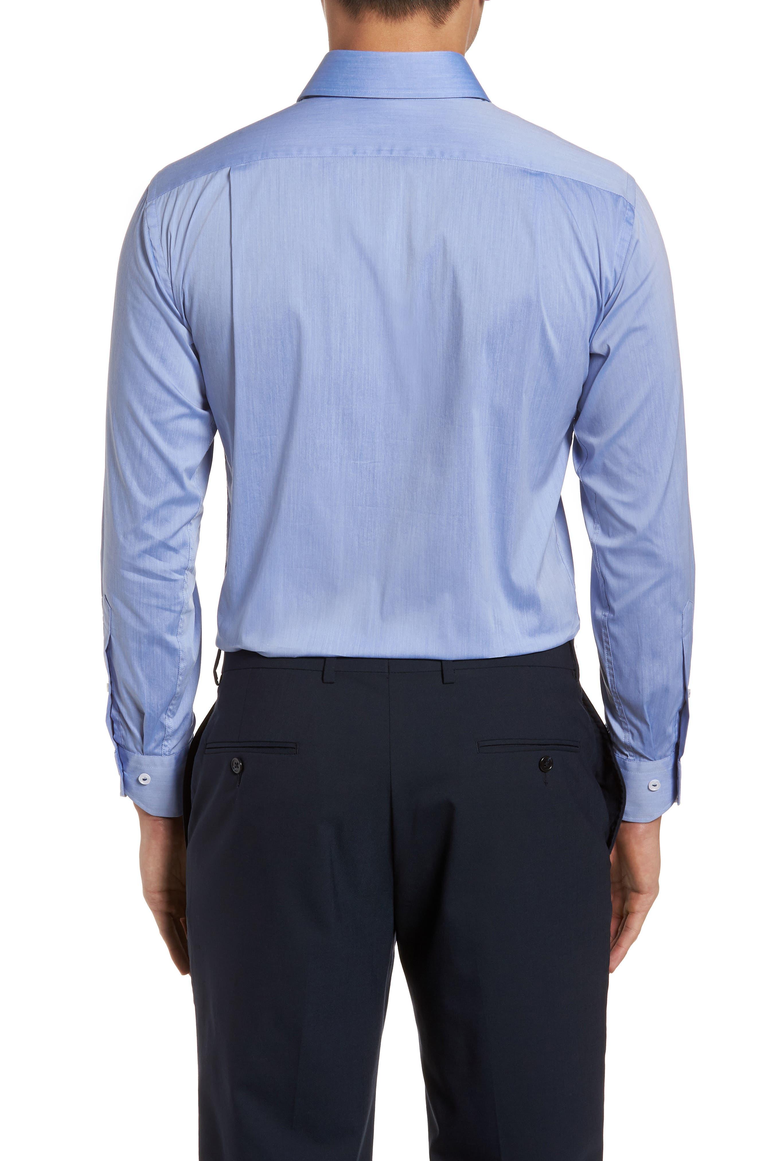 Trim Fit Dress Shirt,                             Alternate thumbnail 3, color,                             Blue